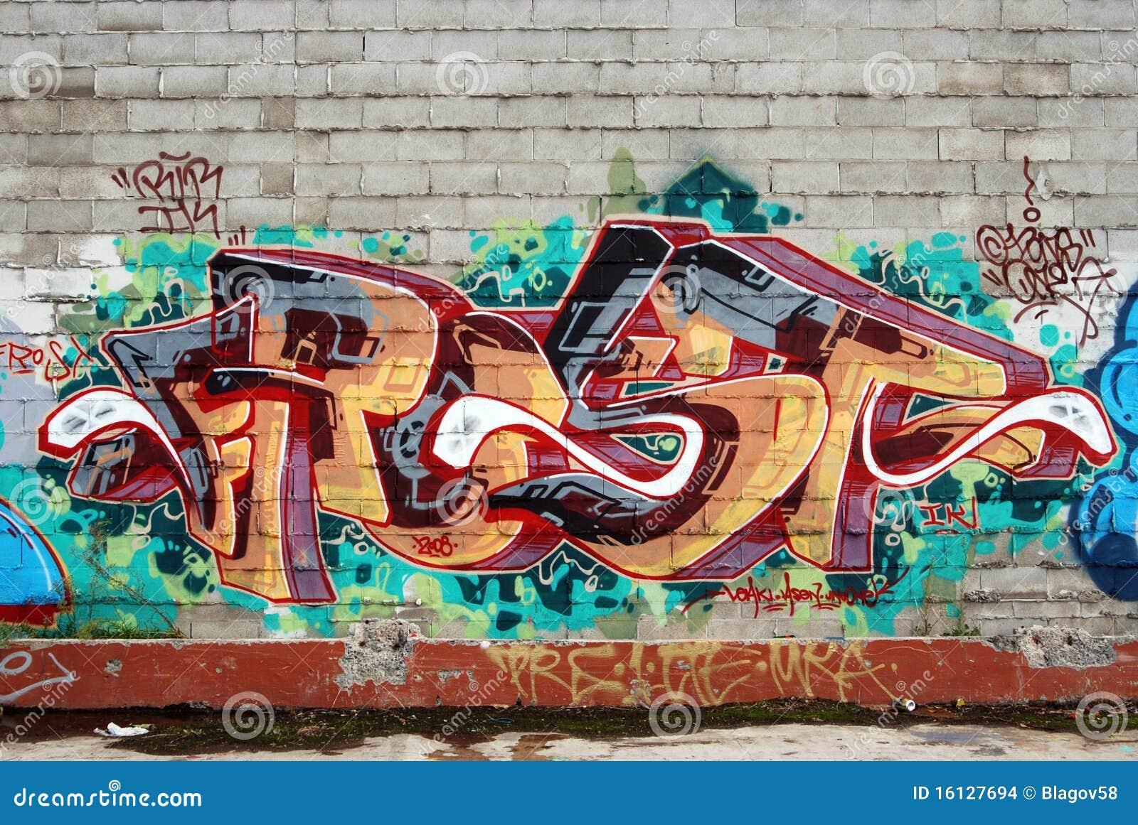 Een muur vernielde met het art. van straatgraffiti
