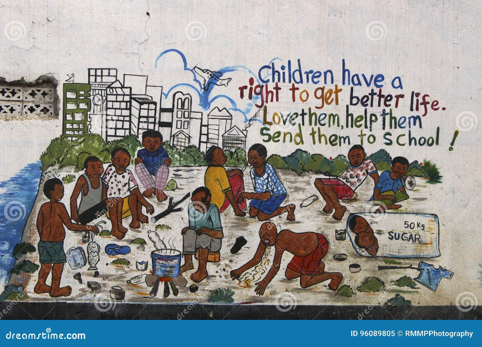 Een muurschildering over kinderen` s rechten in Oeganda, Afrika