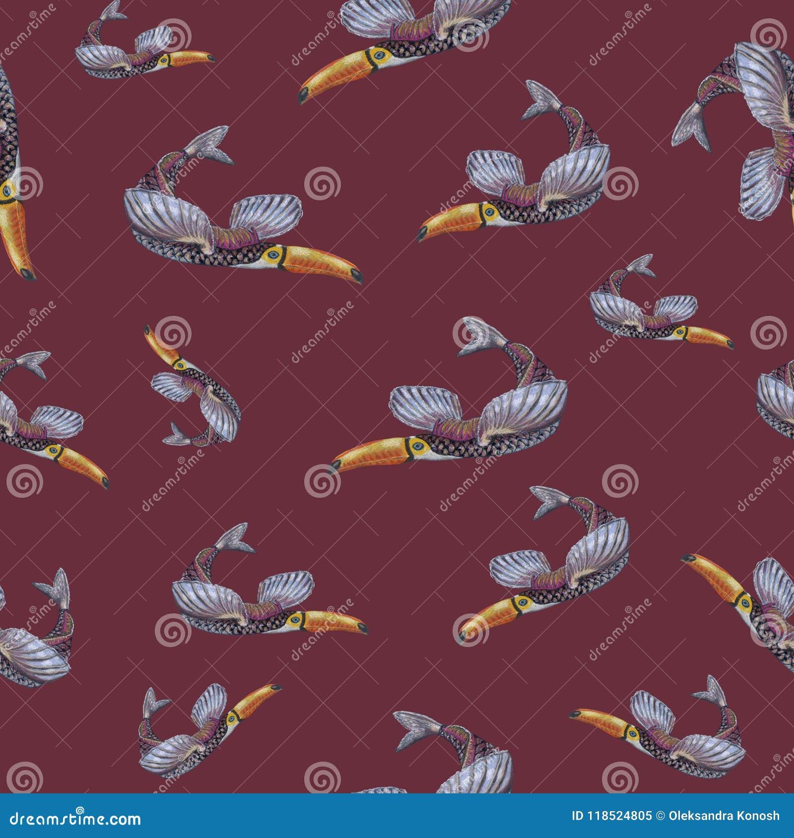 Een naadloos patroon met een fantastisch die dier, hand door zachte pastelkleur op de getaande havenachtergrond wordt getrokken