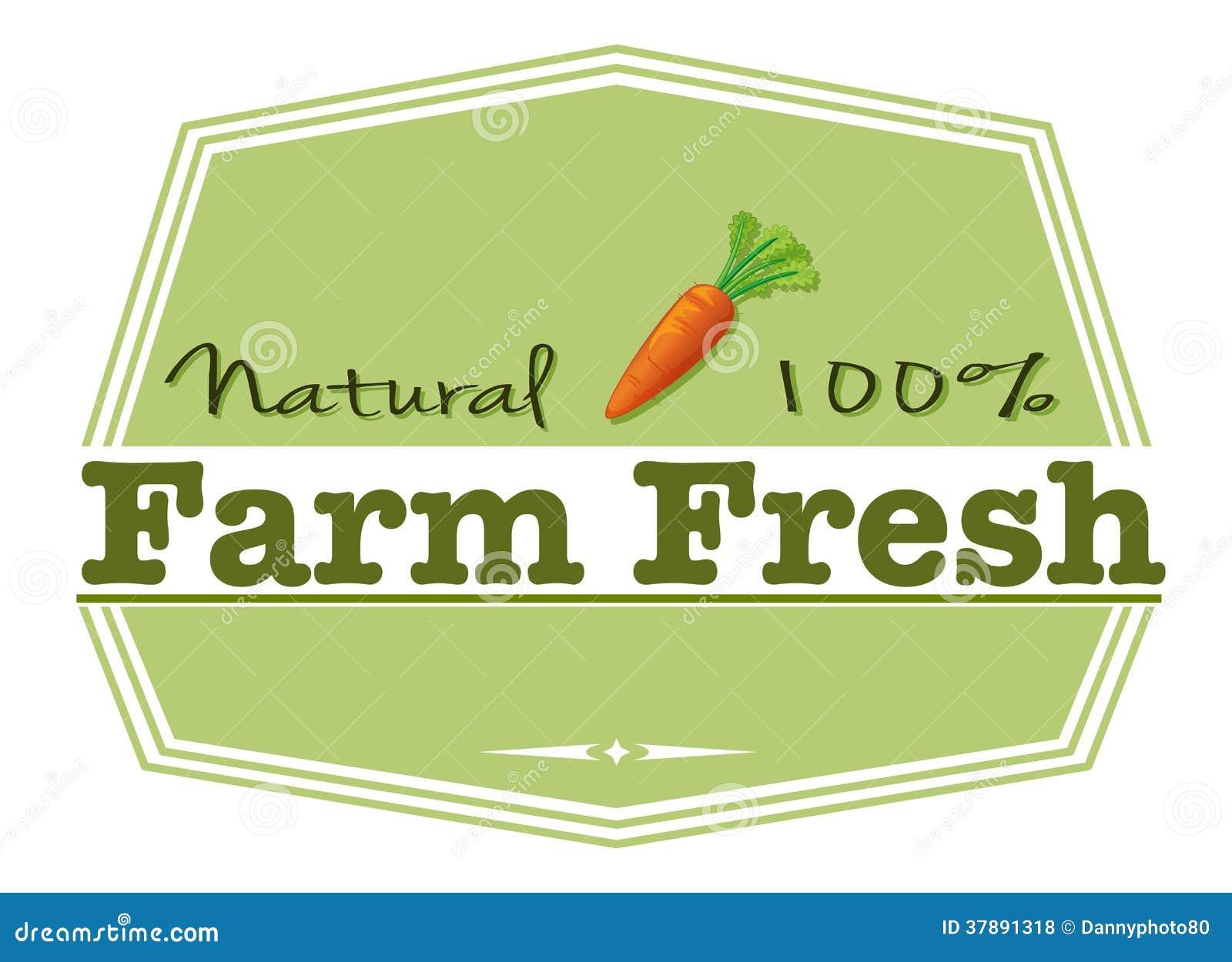 Een natuurlijk landbouwbedrijf vers etiket
