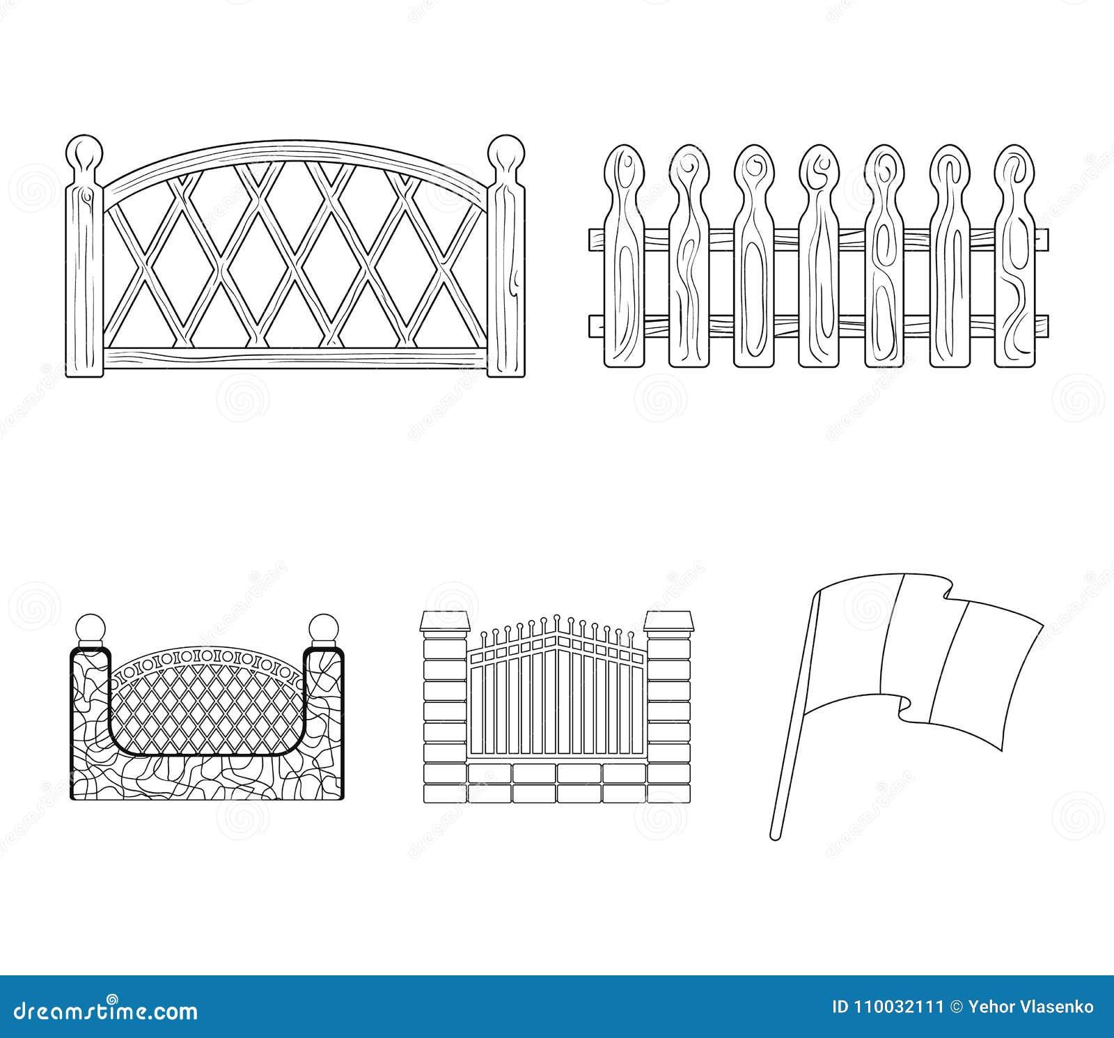 Een omheining van metaal en bakstenen, houten palissade Pictogrammen van een de verschillende omheinings vastgestelde inzameling