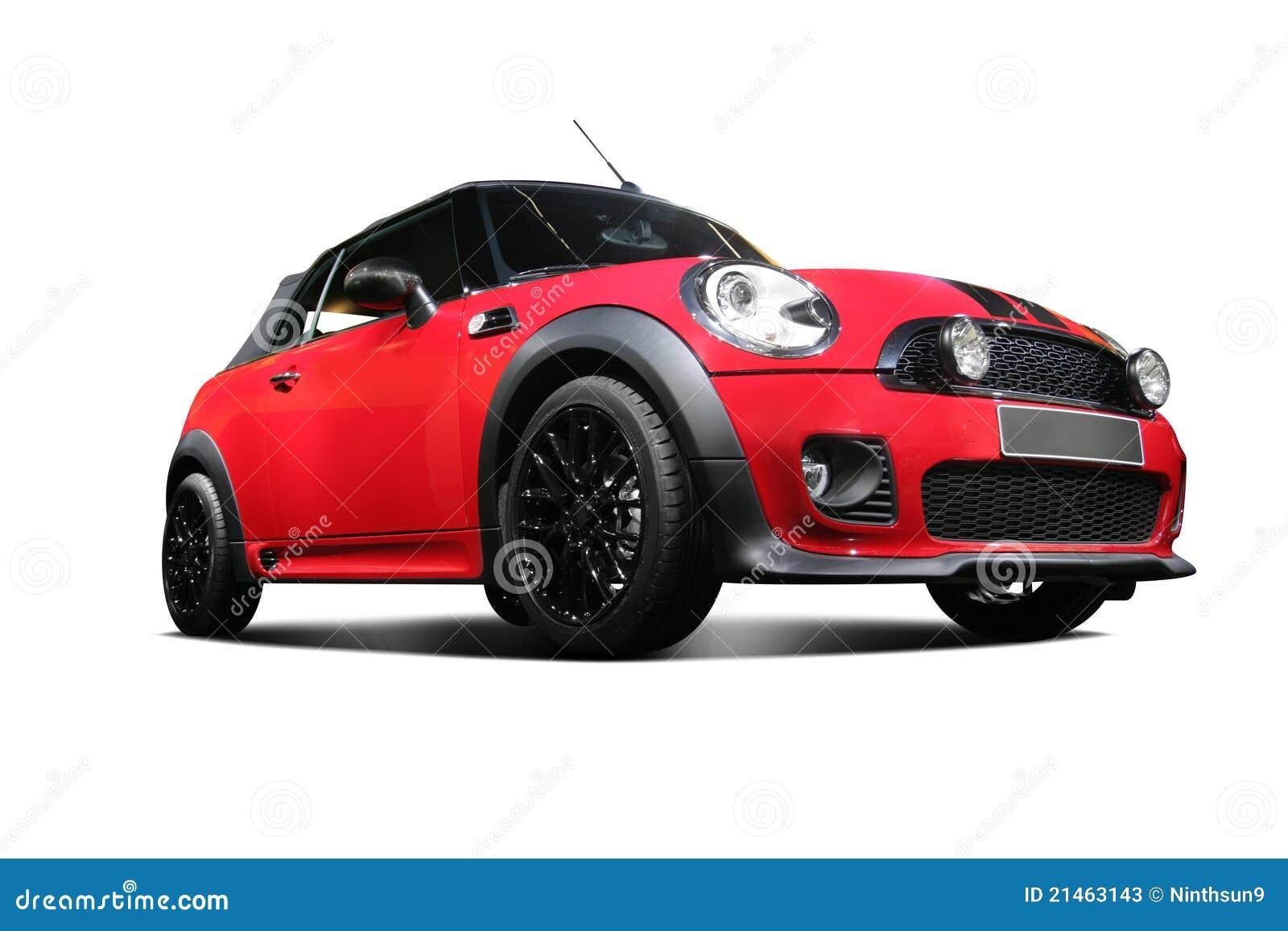 Een onafhankelijke rode statische auto op witte achtergrond