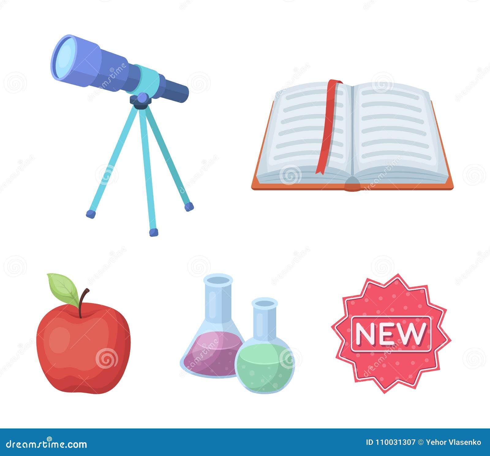 Een open boek met een referentie, een telescoop, flessen met reagentia, een rode appel Scholen en pictogrammen van de onderwijs d