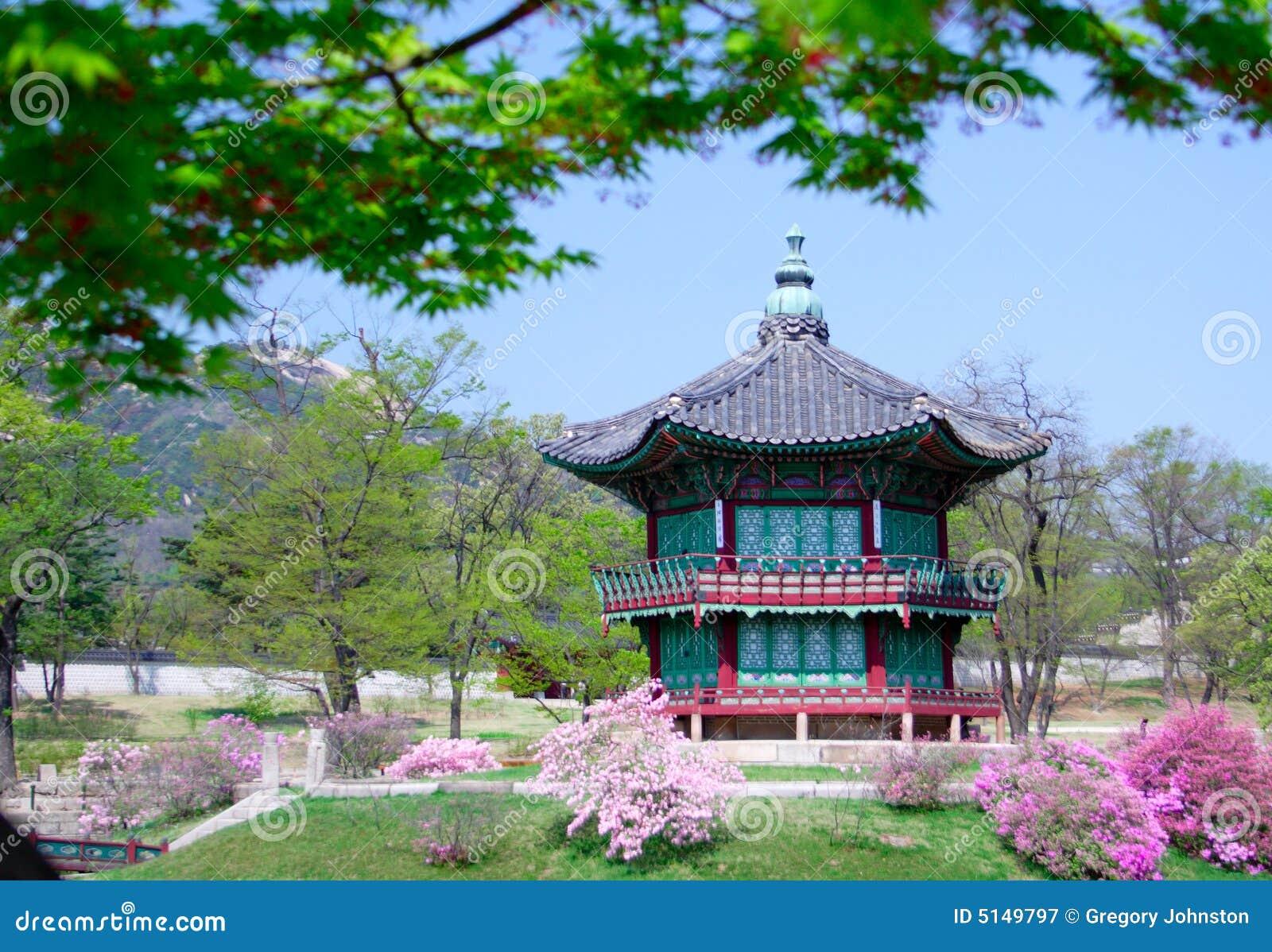 Een oude historische pavillion in Seoel, Korea.