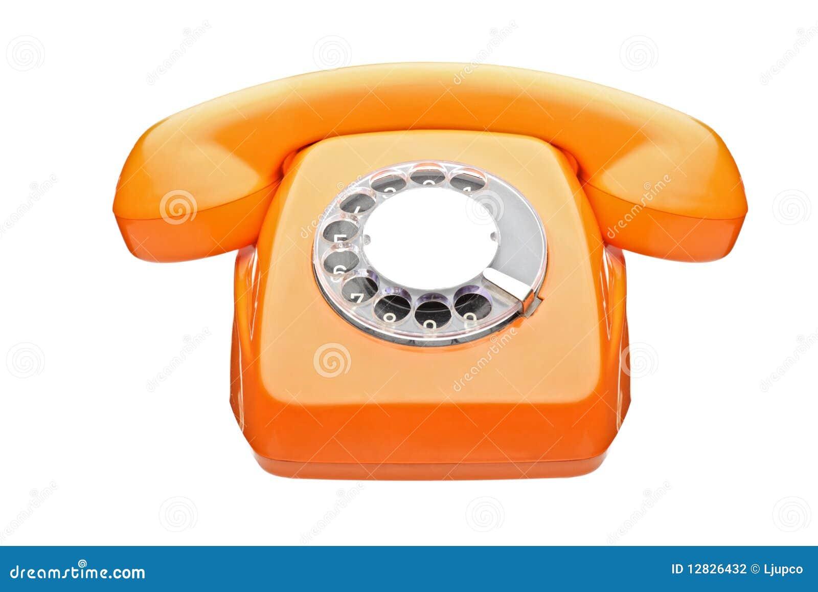 Een oude oranje telefoon