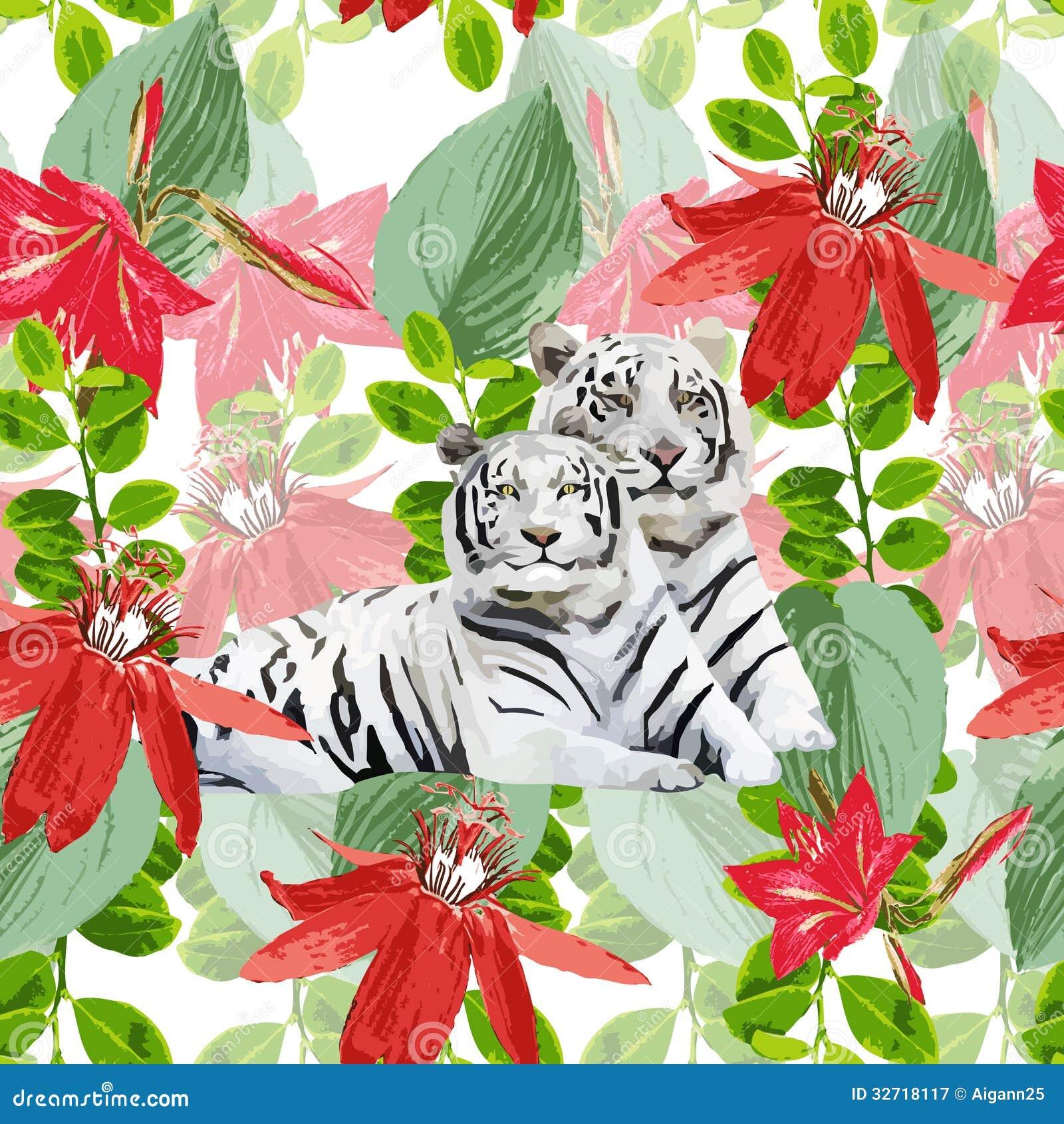 Een paar witte tijgers en bloemen