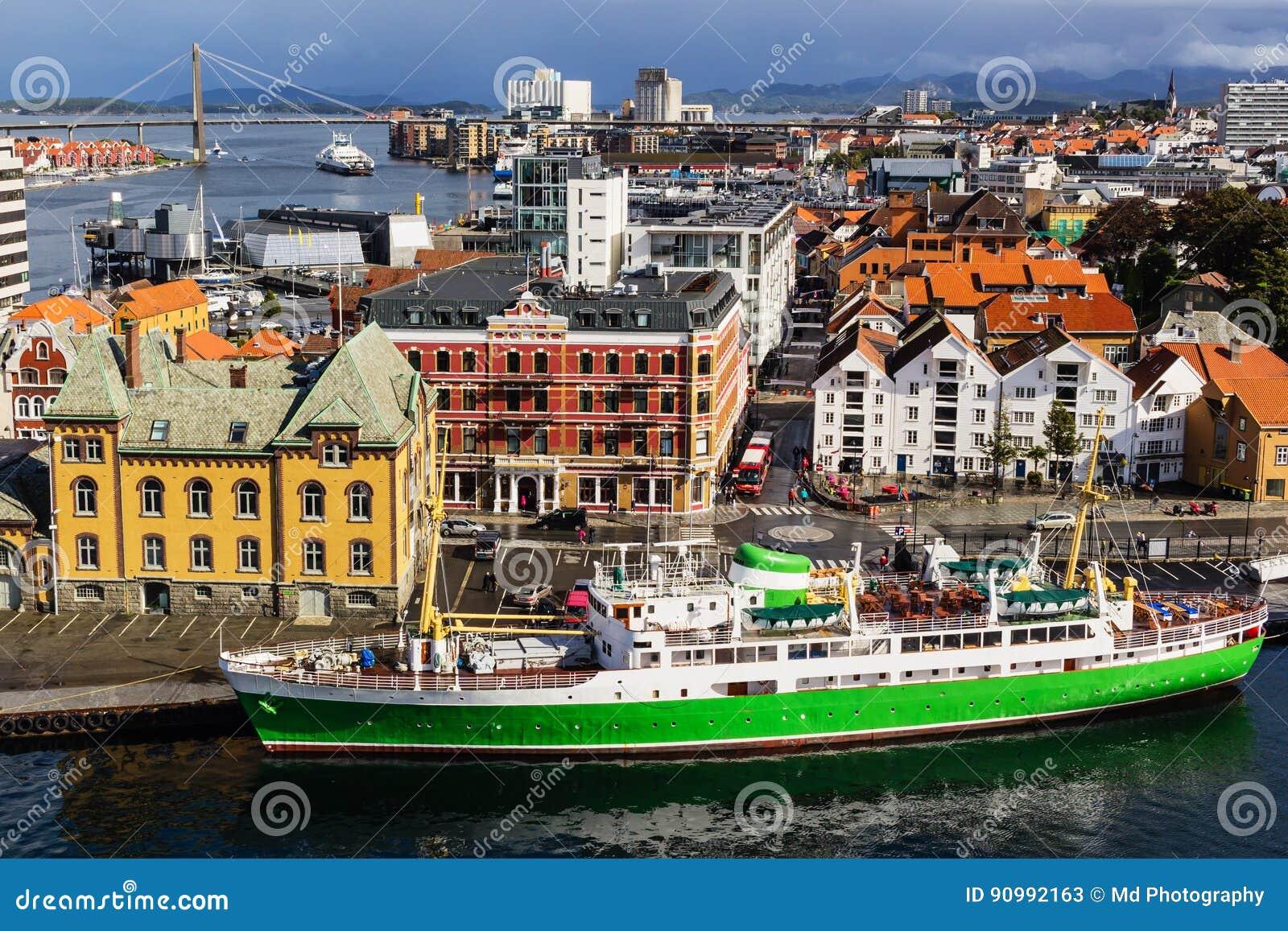 Een Panorama van de stad van Stavanger in Noorwegen