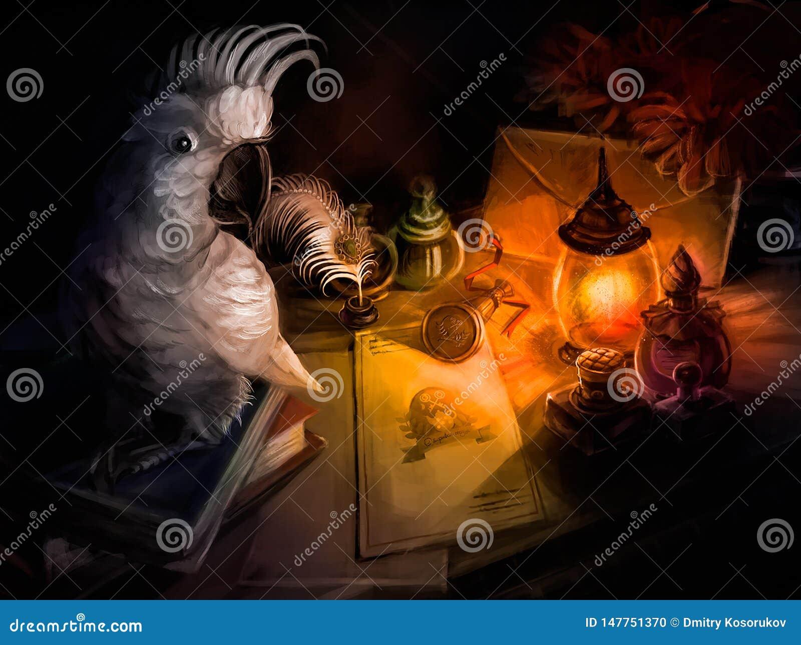 Een papegaai zit op het Bureau van een schrijver