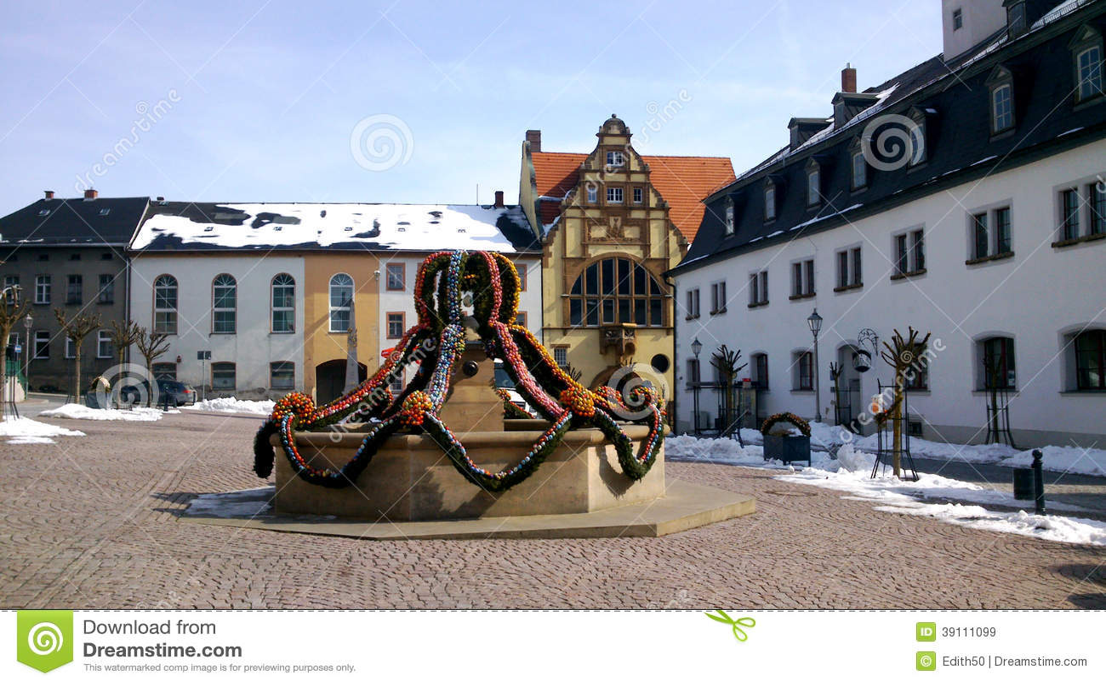 Een Pasen-fontein in Thuringia