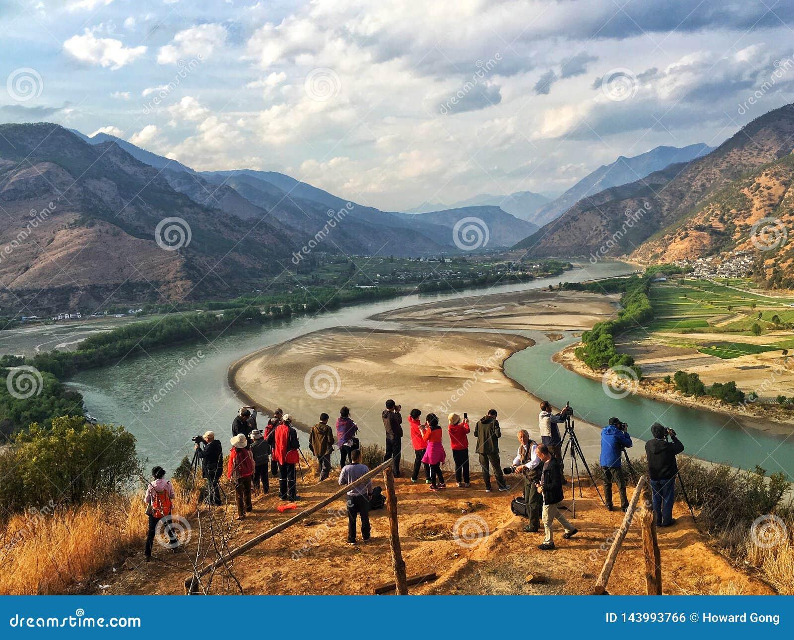 Een passage van de Yangtze-rivier in yunnan provincie, China