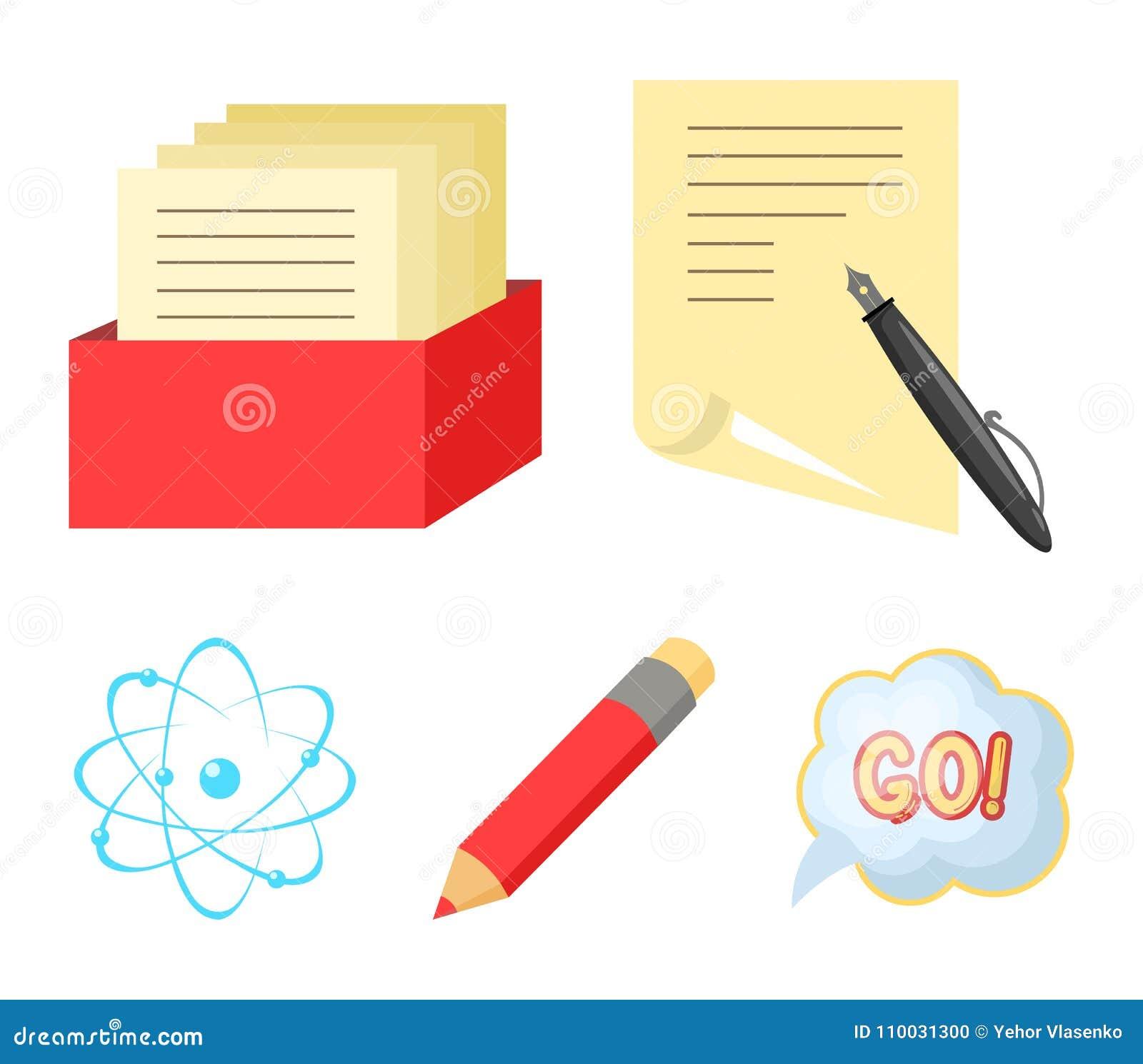 Een pen met document, een catalogus in een vakje, een rood potlood, een atoom met een kern Pictogrammen van de school de vastgest