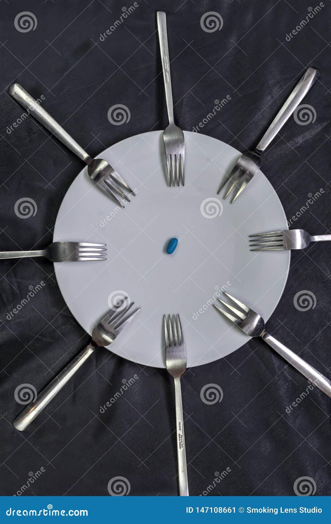 Een plaat met pillen die door vorken omringen