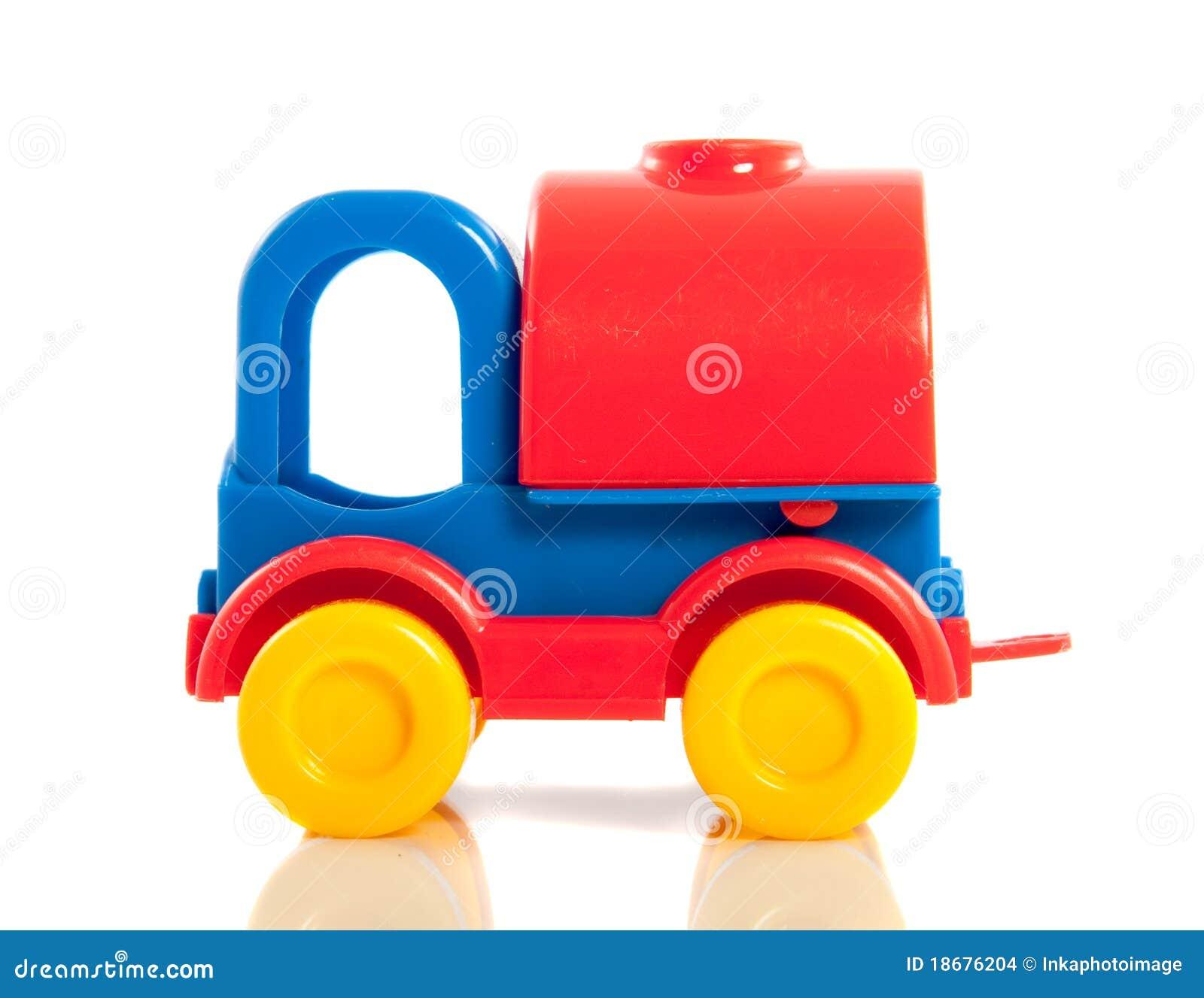 Een plastic gekleurde stuk speelgoed auto stock foto for Juguetes de plastico