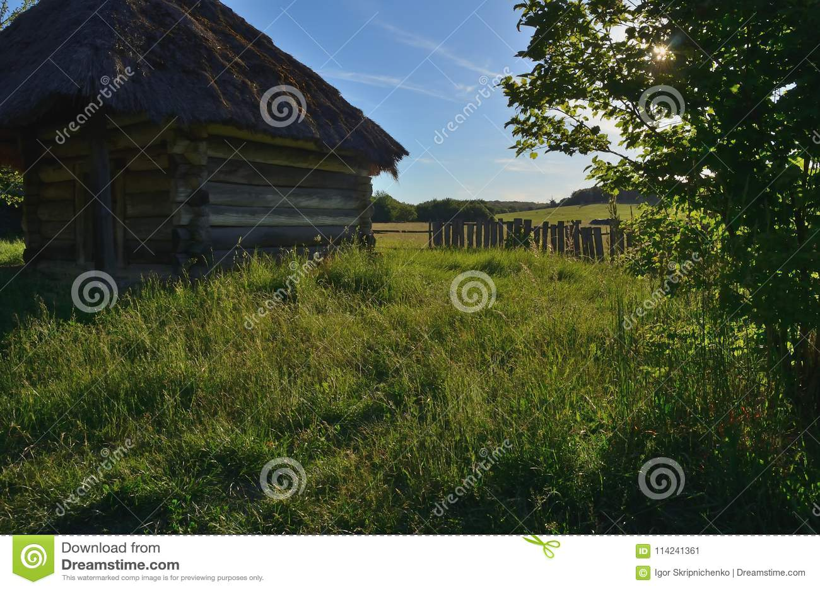 Een plattelandshuisje van stevige houten logboeken met een strodak