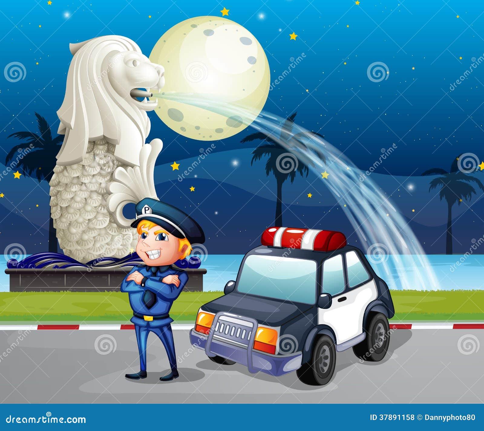 Een politieagent en zijn patrouillewagen dichtbij het standbeeld van Merlion
