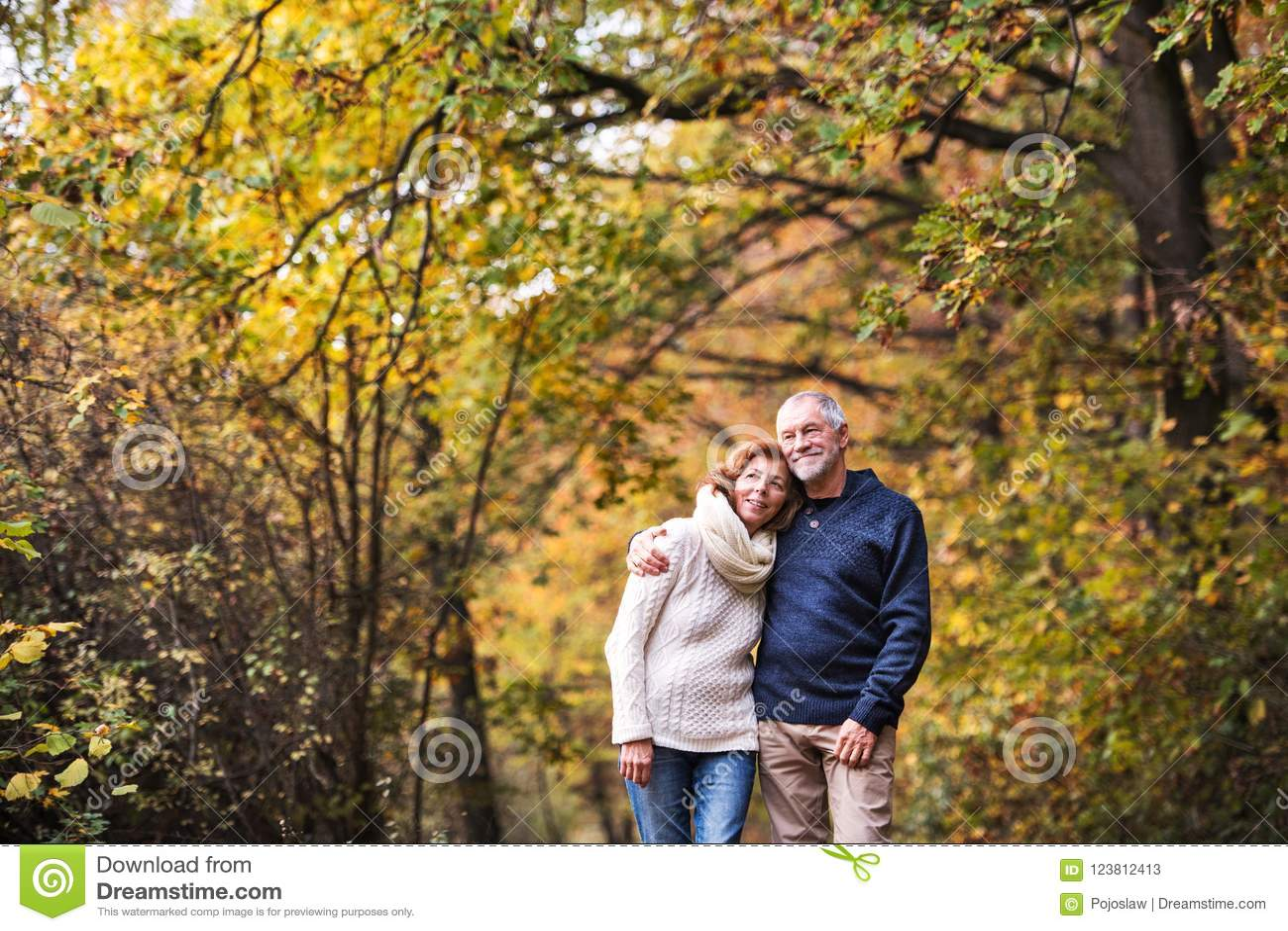 Een portret van een hoger paar die zich in een de herfstaard bevinden De ruimte van het exemplaar