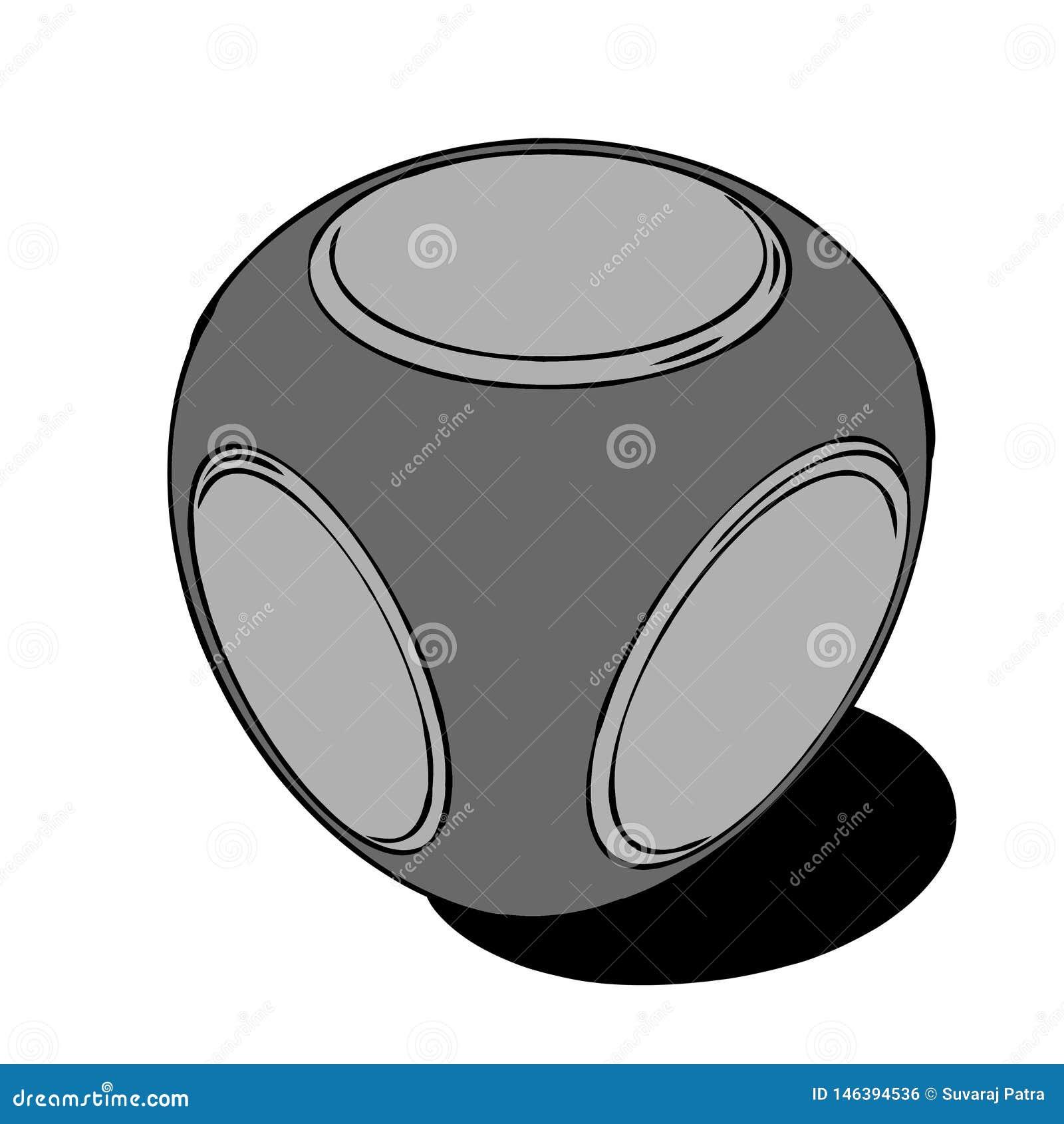 Een presse-papier met cirkels op zijn oppervlakte