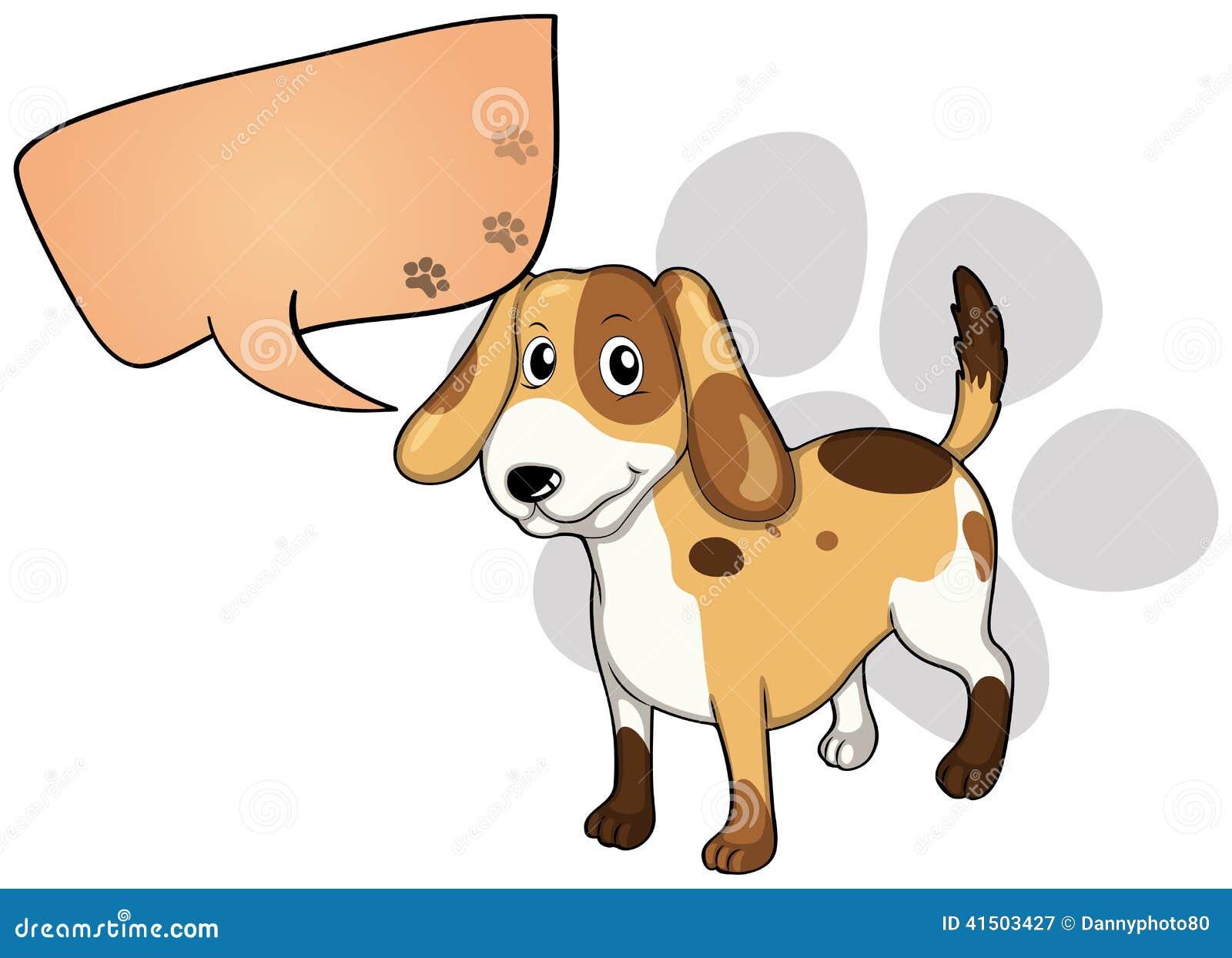 Een puppy met een lege rechthoekige callout