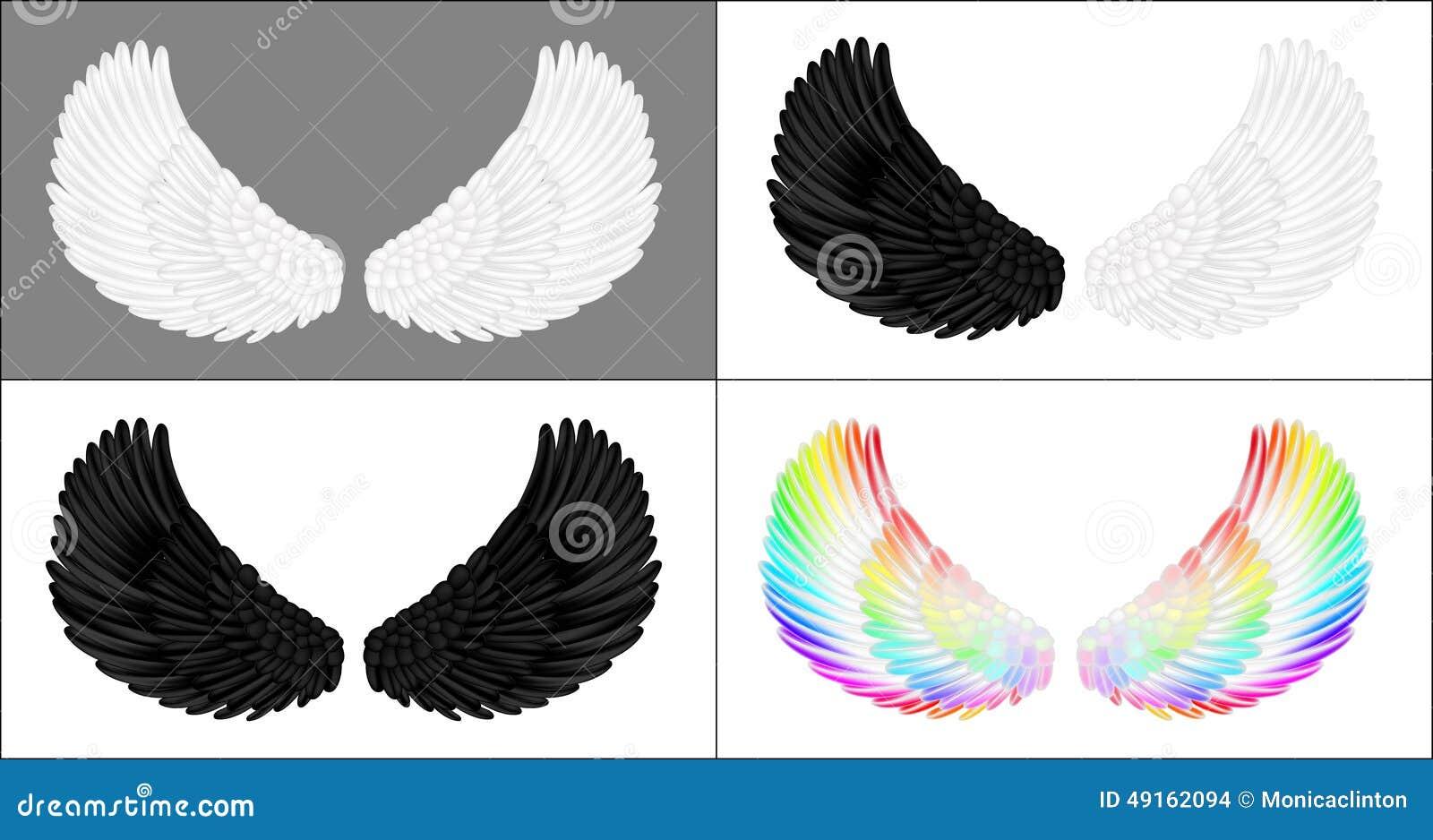 Een reeks engelenvleugels