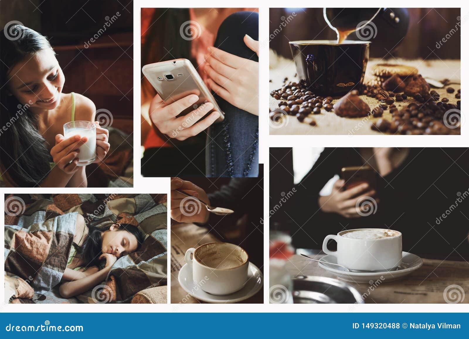 Een reeks foto s van het concept levensstijl, in de stijl van instagram