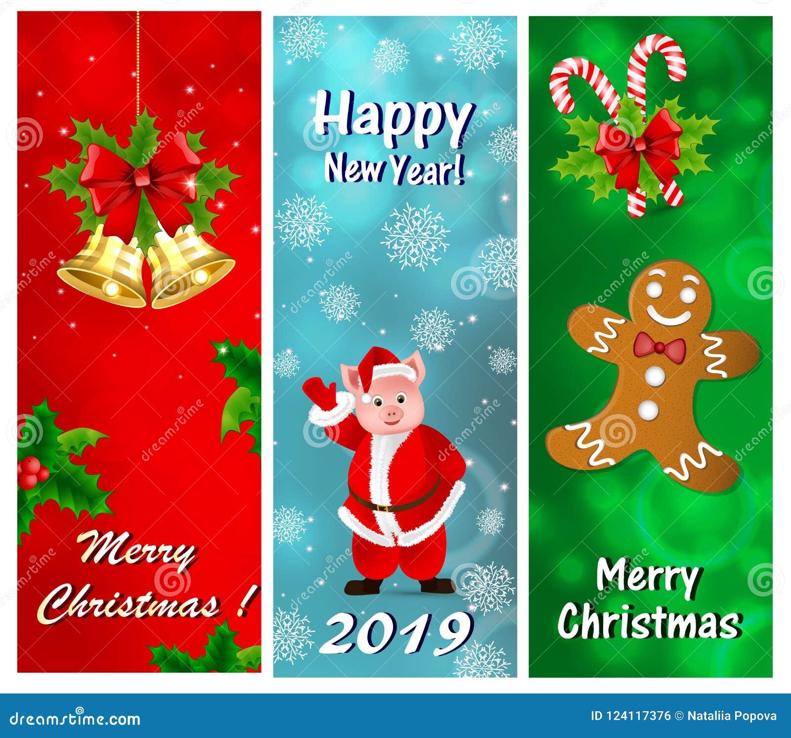 Een reeks groetkaarten voor het Nieuwjaar en Kerstmis
