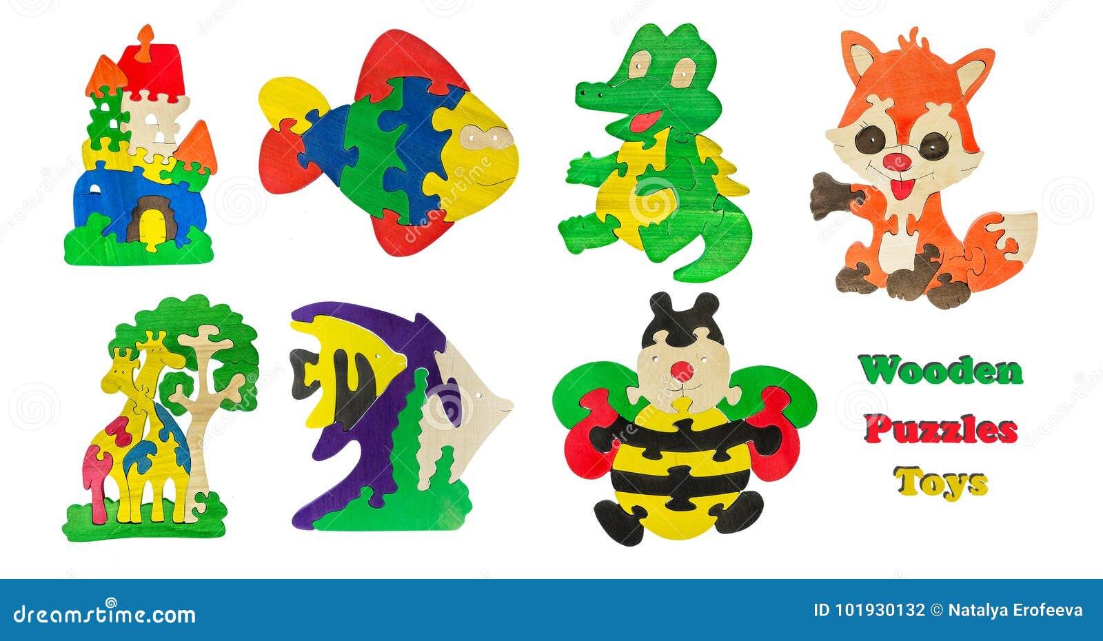 Een Reeks Kinderen S Houten Speelgoed Isoleerde Witte Achtergrond