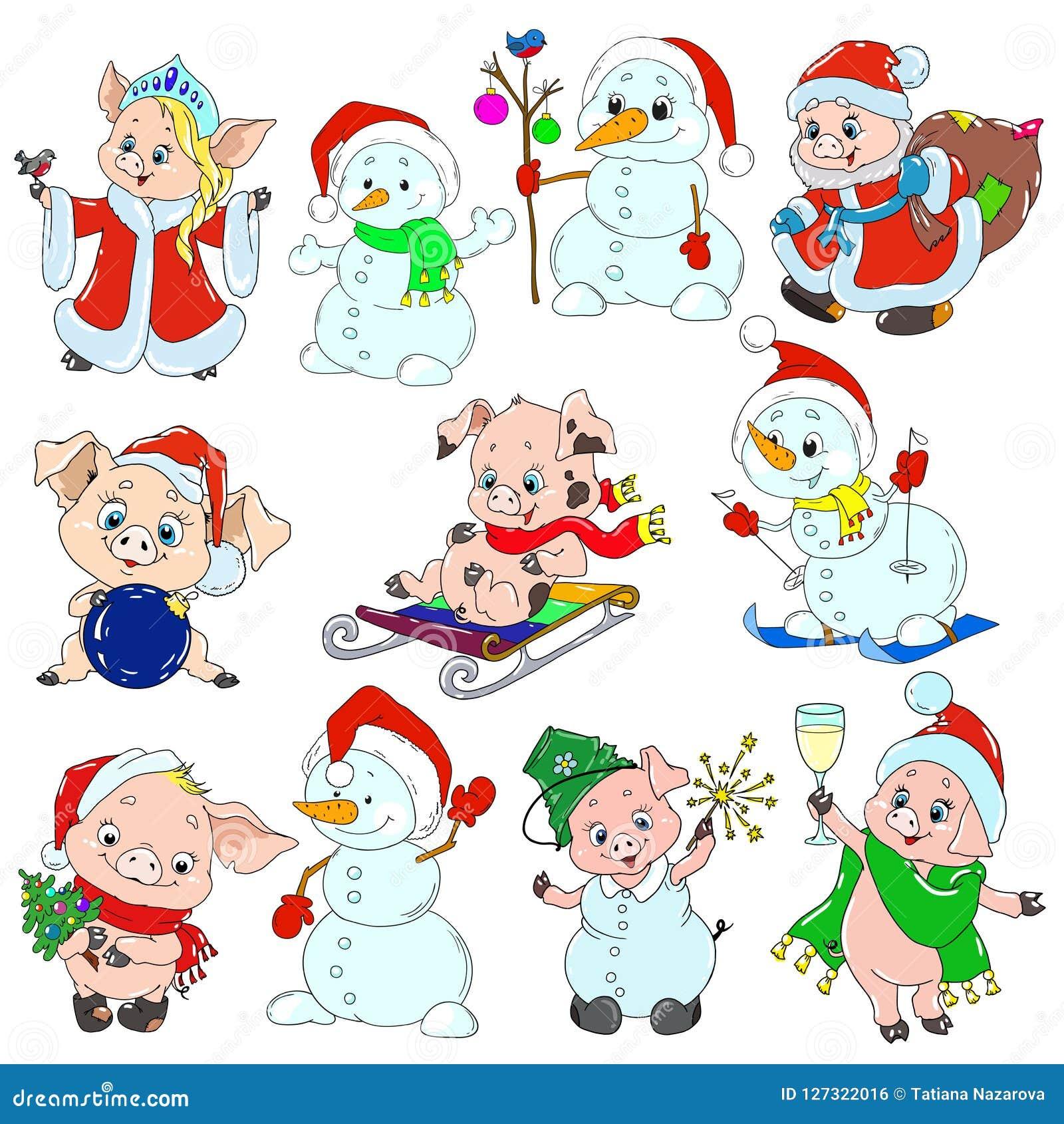 Een reeks leuke karakters voor het nieuwe jaar Editable vectorreeks Biggetjes en sneeuwmannen voor groetkaarten Vector