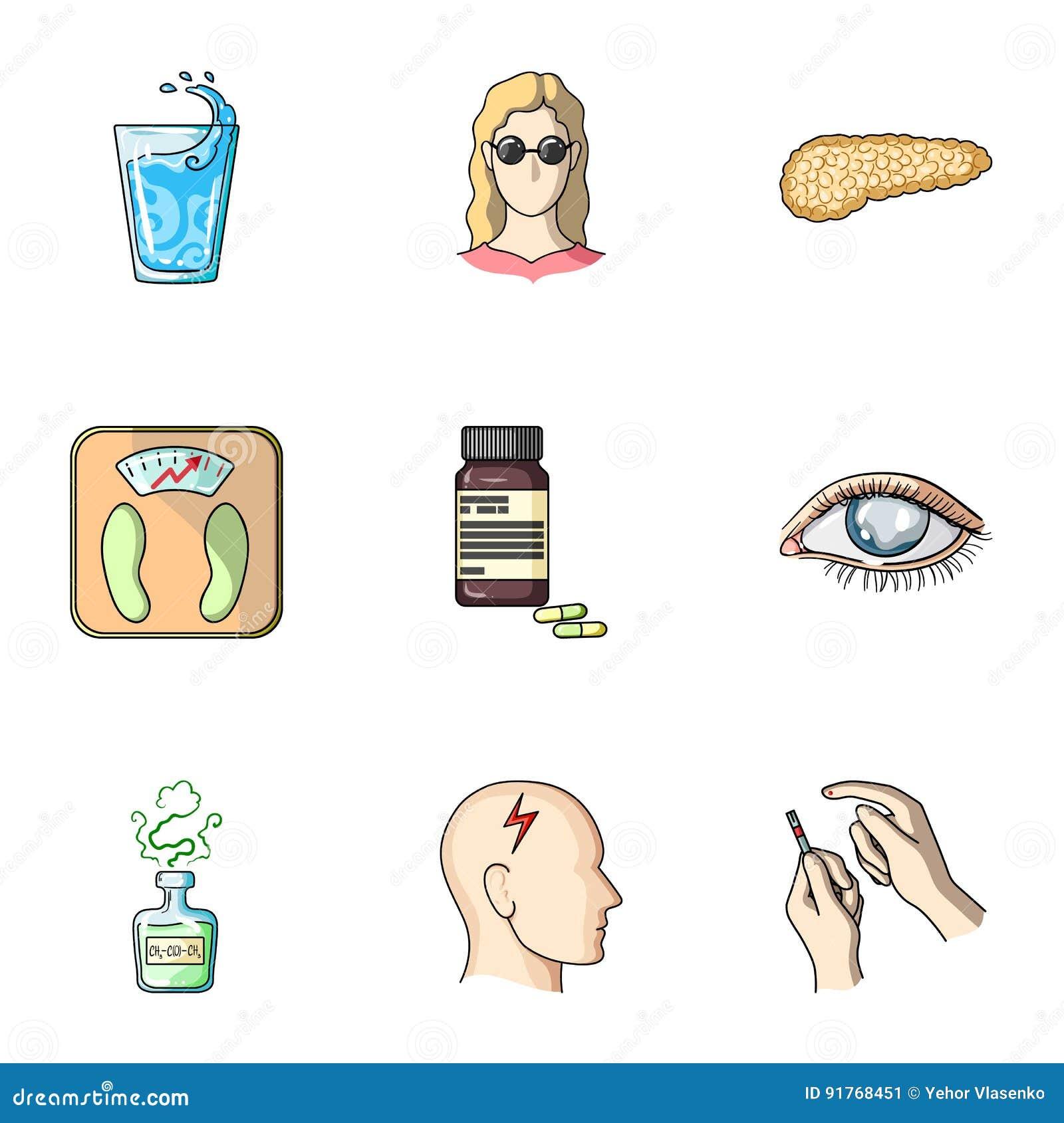 Een reeks pictogrammen over mellitus diabetes Symptomen en behandeling van diabetes Diabetespictogram in vastgestelde inzameling