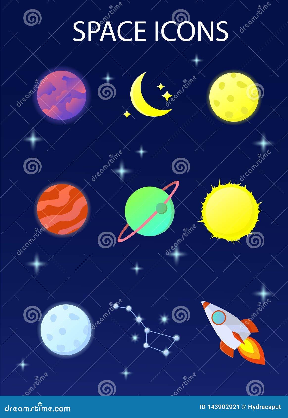 Een reeks ruimtepictogrammen