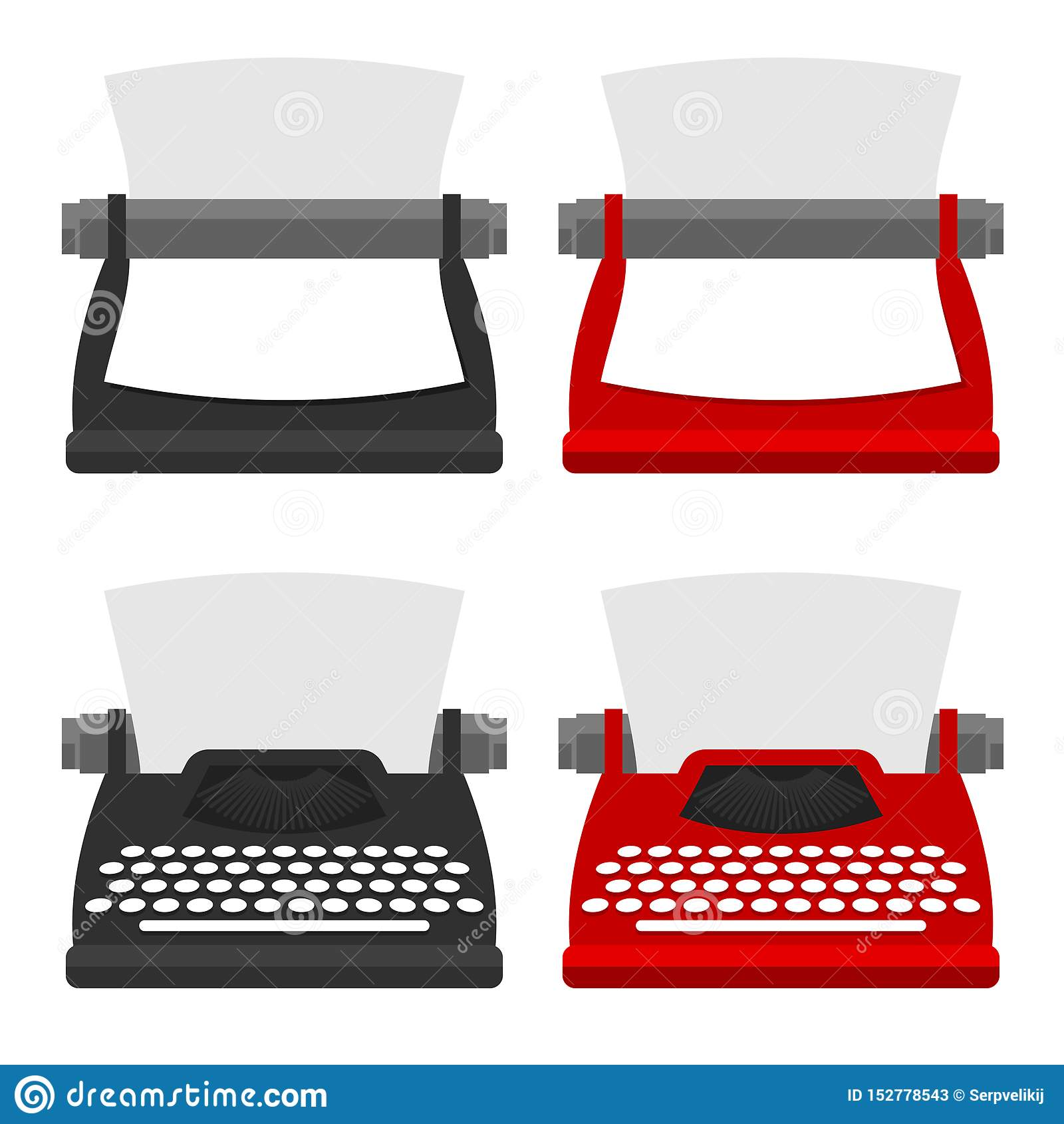 Een reeks van meubilair voor de werkplaats schrijfmachinevoorzijde en achtergedeelte in verschillende stijlen Vector vlakke illus