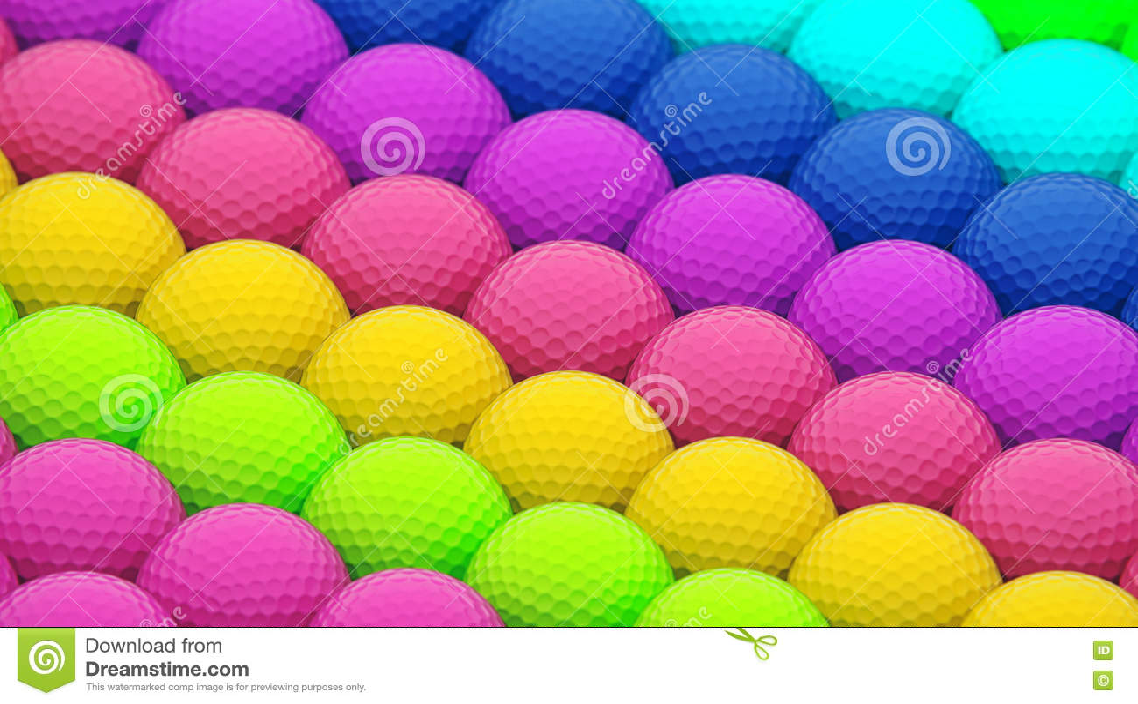 Een Reusachtige Trillende Serie van Kleurrijke Golfballen