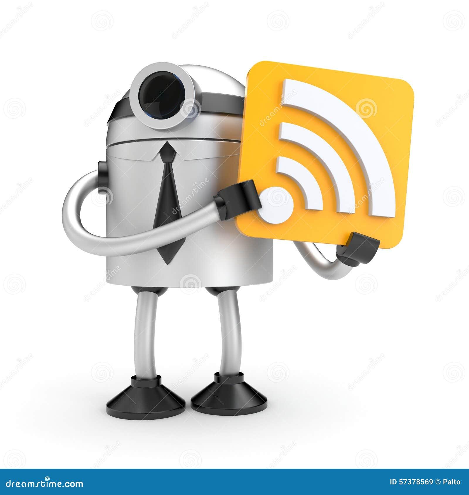 Een robot die een teken met WiFi houden