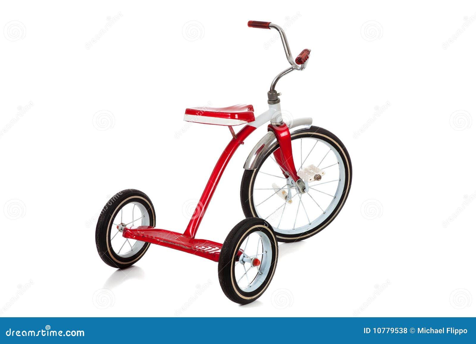 Een rode Driewieler op Wit
