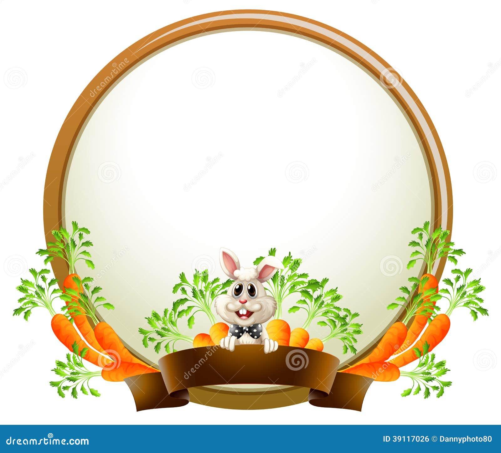 Een rond leeg malplaatje met een konijn