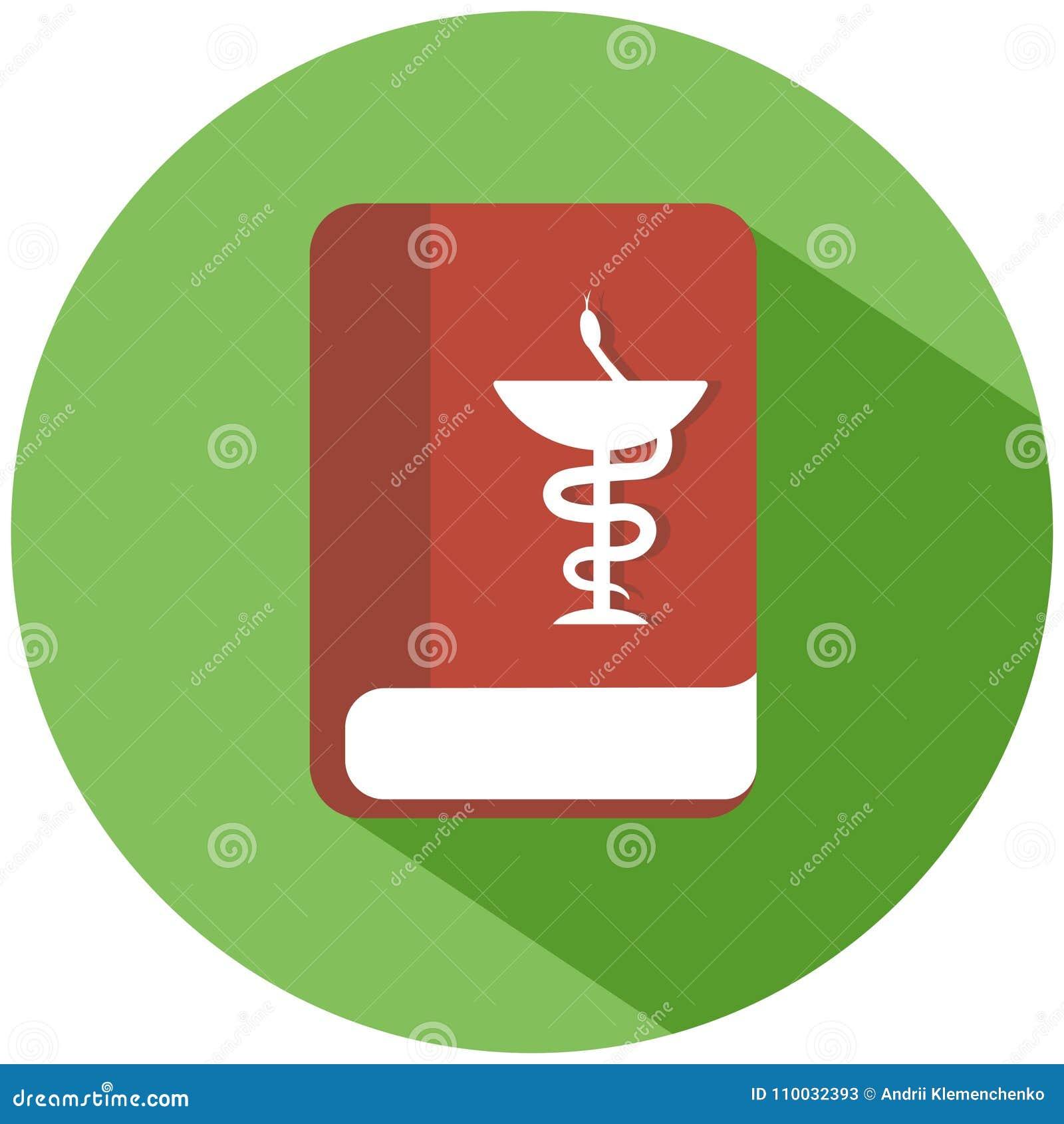 Een rood boek in een groene cirkel Een rood klinisch die geneeskundeboek op witte achtergrond wordt geïsoleerd Het pictogram van