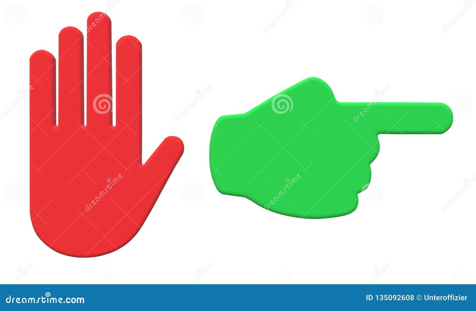 Een rood teken van de eindehand en green gaan dit teken van de manierhand