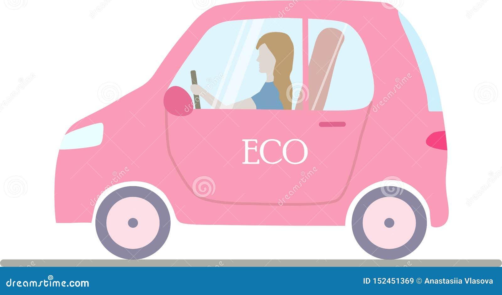 Een roze geïsoleerde eco; ogical elektrische auto met een vrouw
