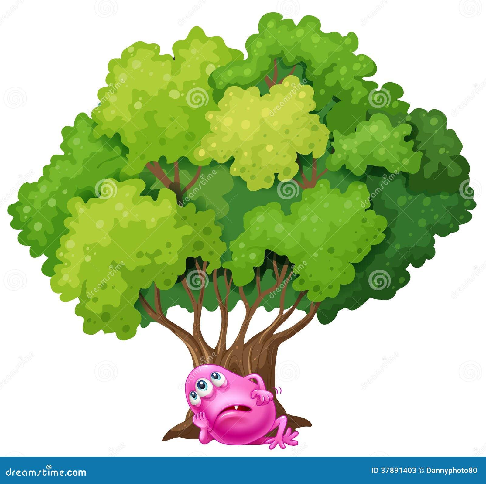 Een roze monster die onder de boom rusten