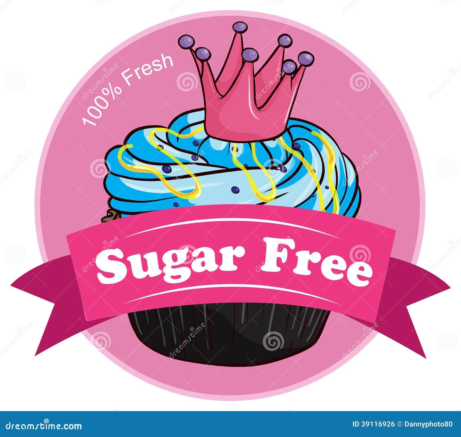 Een roze suiker vrij etiket