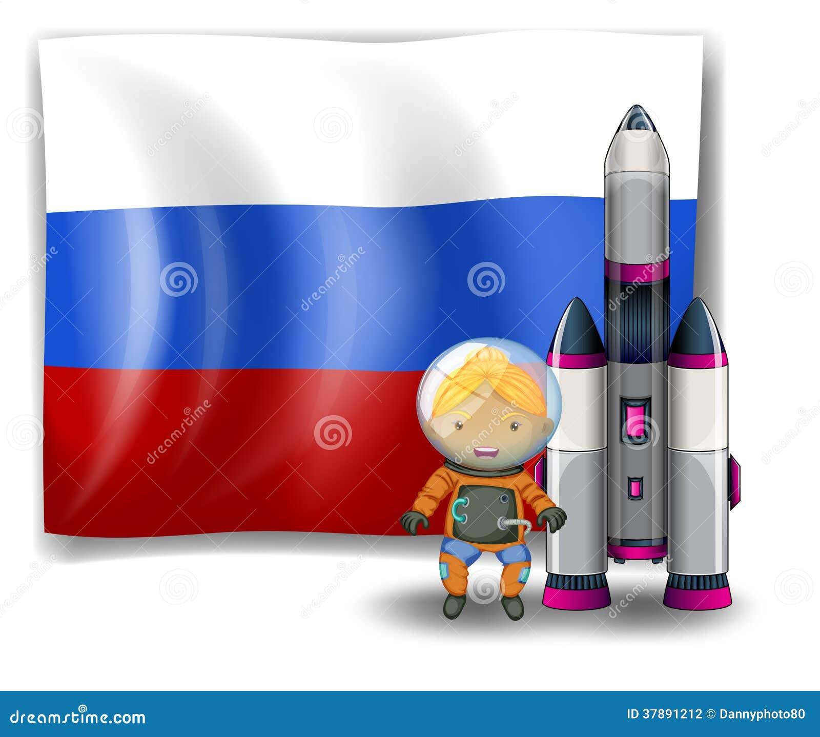 Een Russische vlag met een ontdekkingsreiziger naast een raket