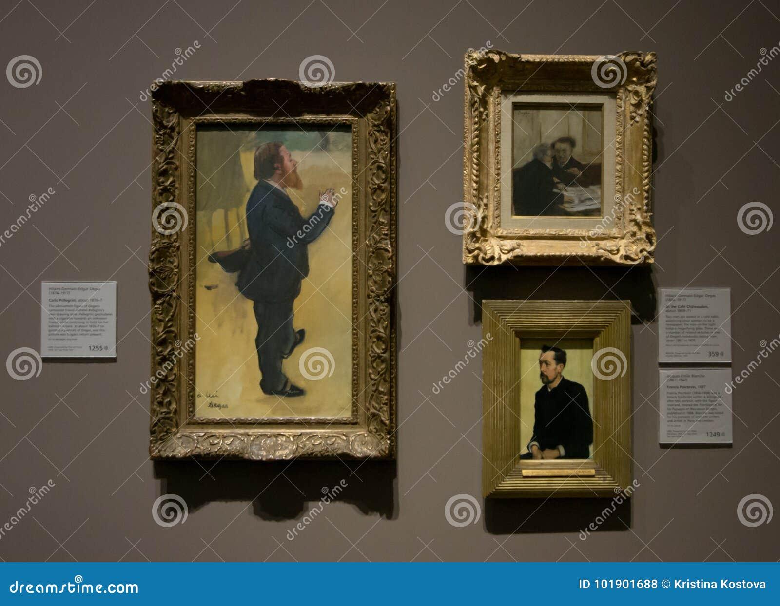 Een samenstelling van schilderijen door Hilaire-Germain-Edgar Degas in het National Gallery in Londen