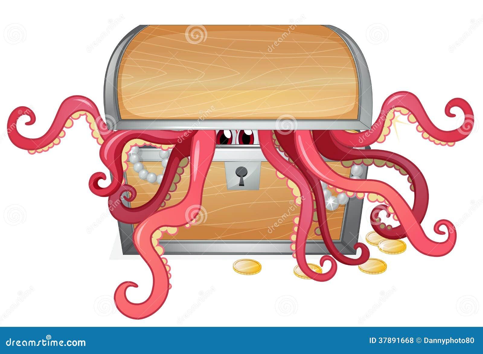 Een schatdoos met een binnen octopus