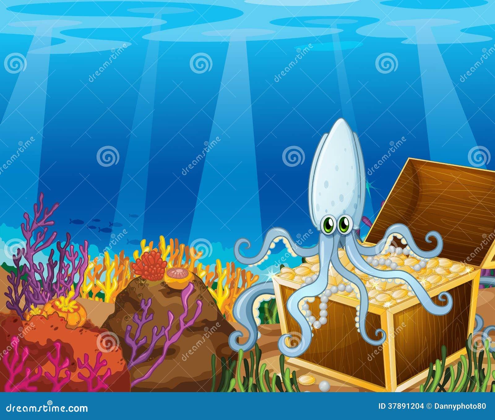 Een schatdoos onder het overzees met een octopus