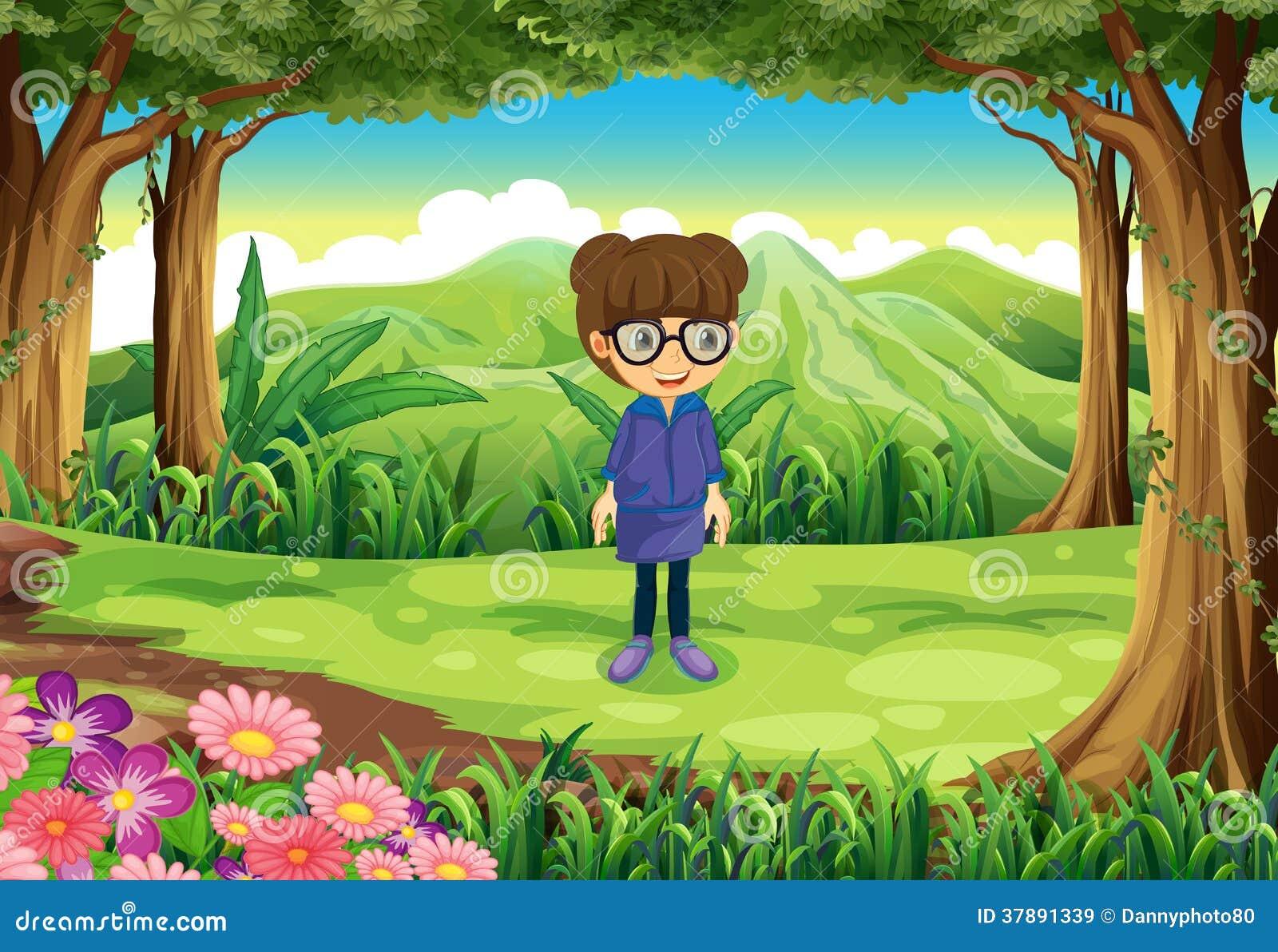 Een slim meisje bij het bos