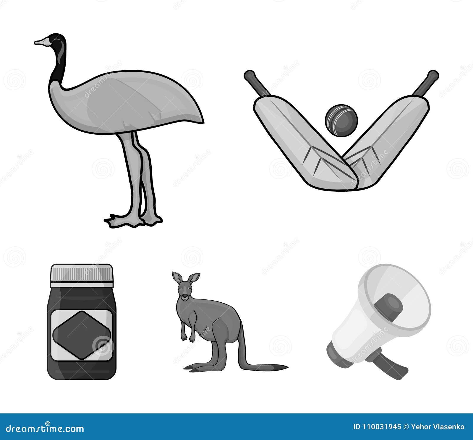 Een spel van veenmol, een emoestruisvogel, een kangoeroe, een populair voedsel Vastgestelde de inzamelingspictogrammen van Austra