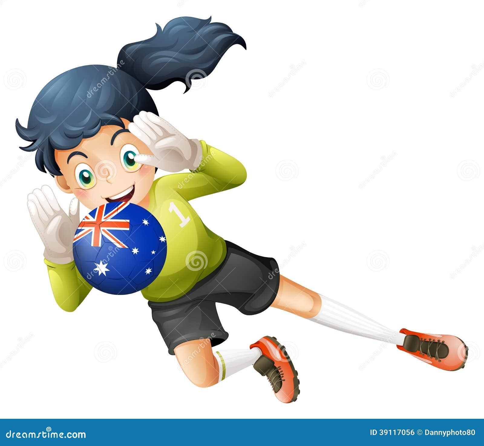 Een speler die de bal van Australië gebruiken