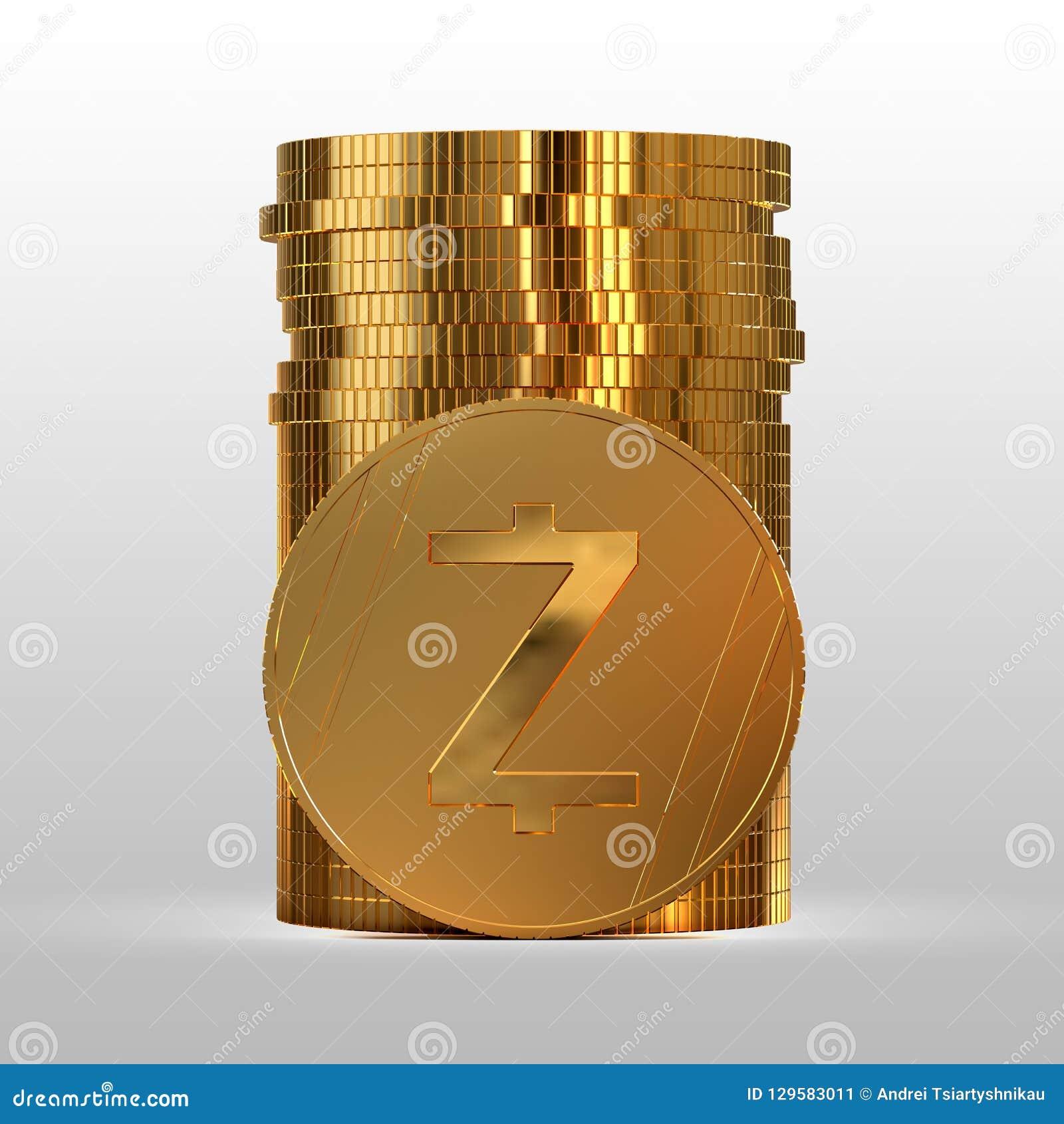 Een stapel gouden muntstukken Cryptocurrency Zcash 3D Illustratie