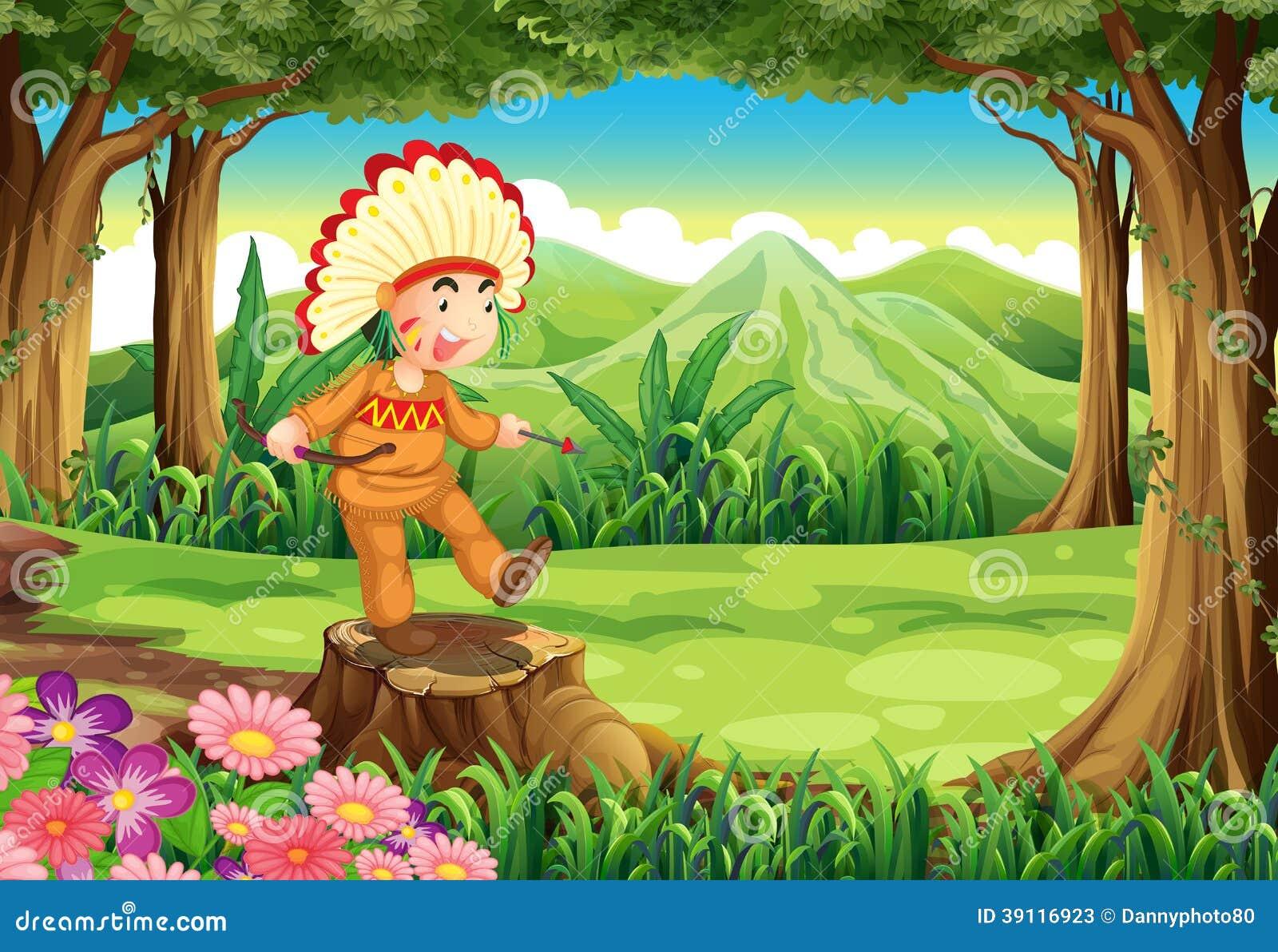 Een stomp bij de wildernis met een Indiër