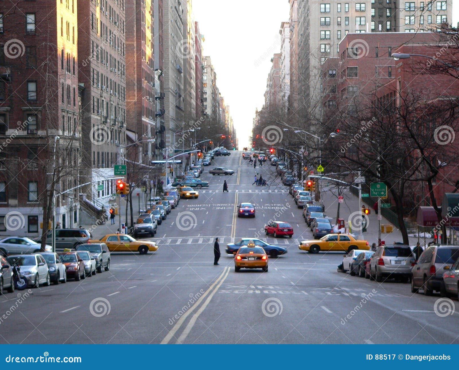 Een straatscène in NYC