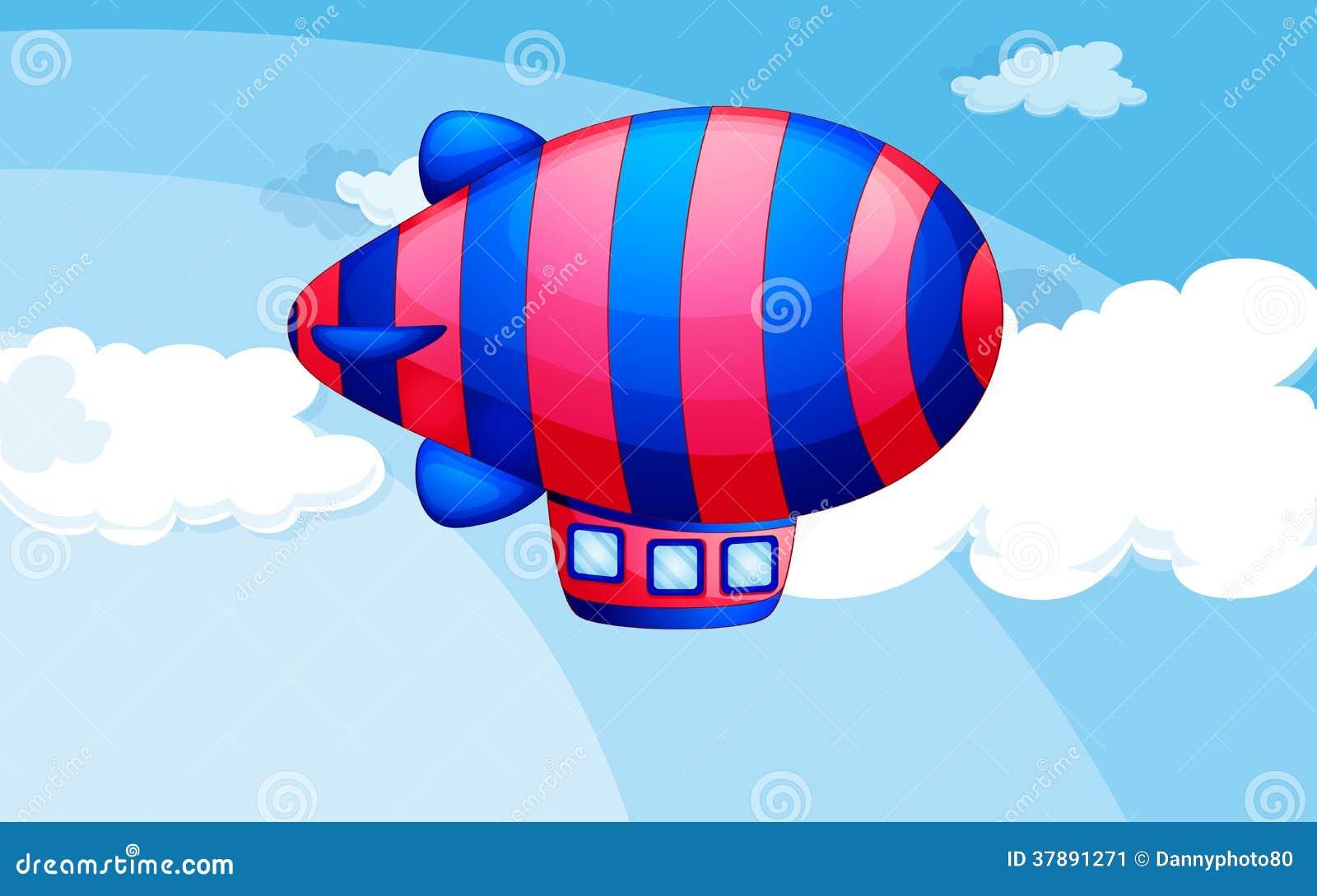 Een streep-gekleurd luchtschip in de hemel